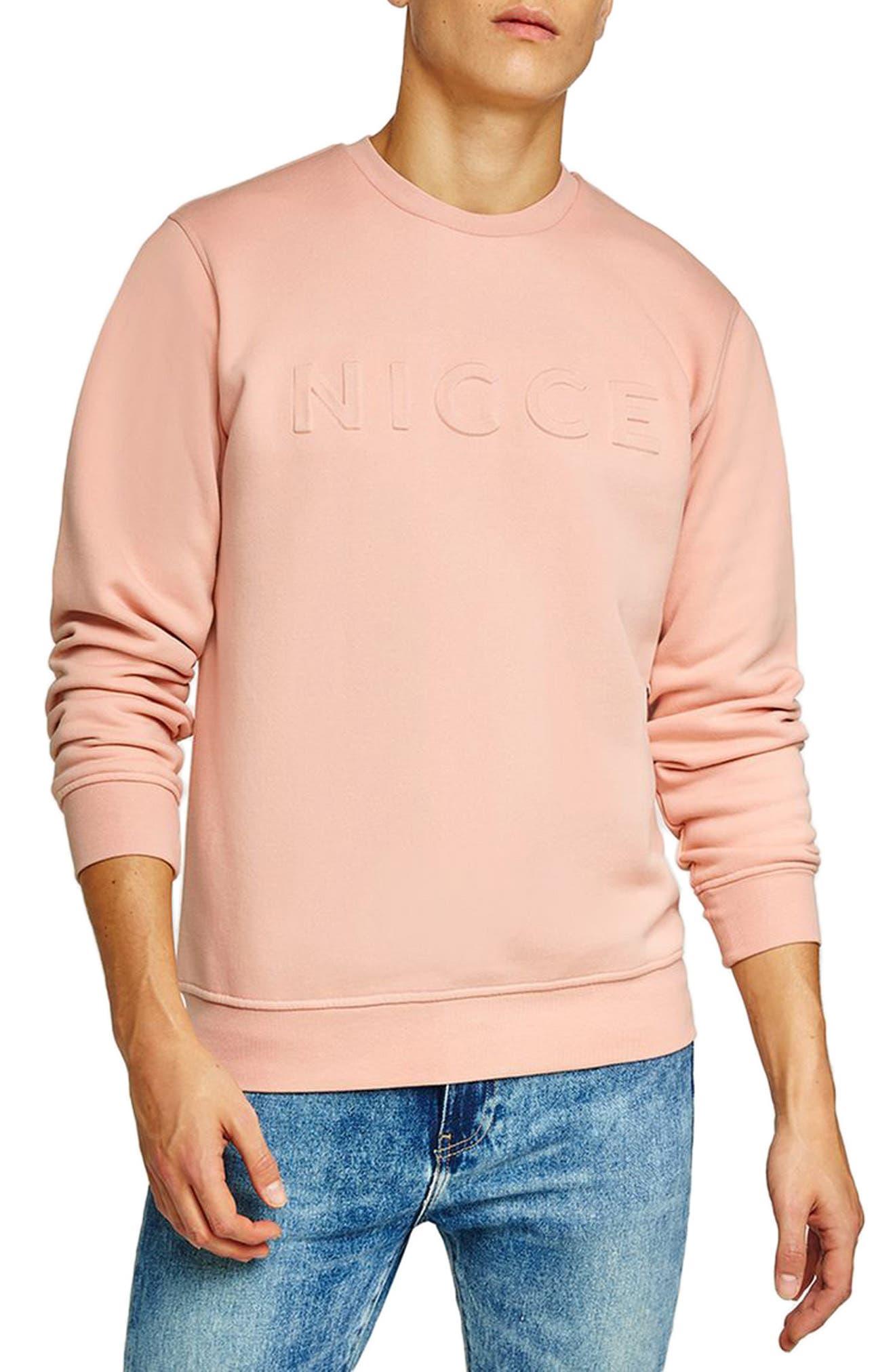 NICCE Slim Fit Embossed Sweatshirt,                             Main thumbnail 1, color,                             Pink