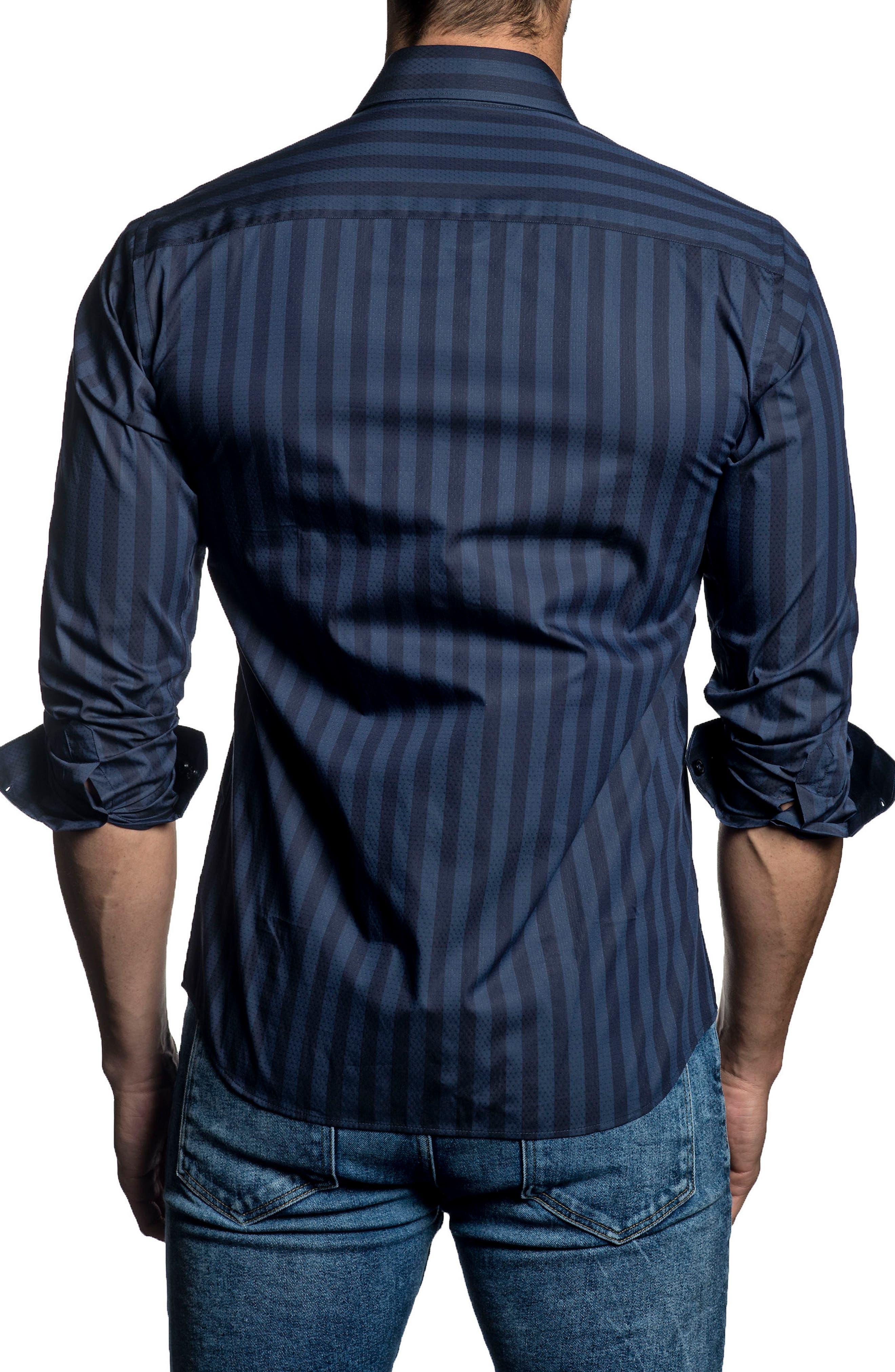 Trim Fit Vertical Stripe Sport Shirt,                             Alternate thumbnail 2, color,                             Blue Stripes