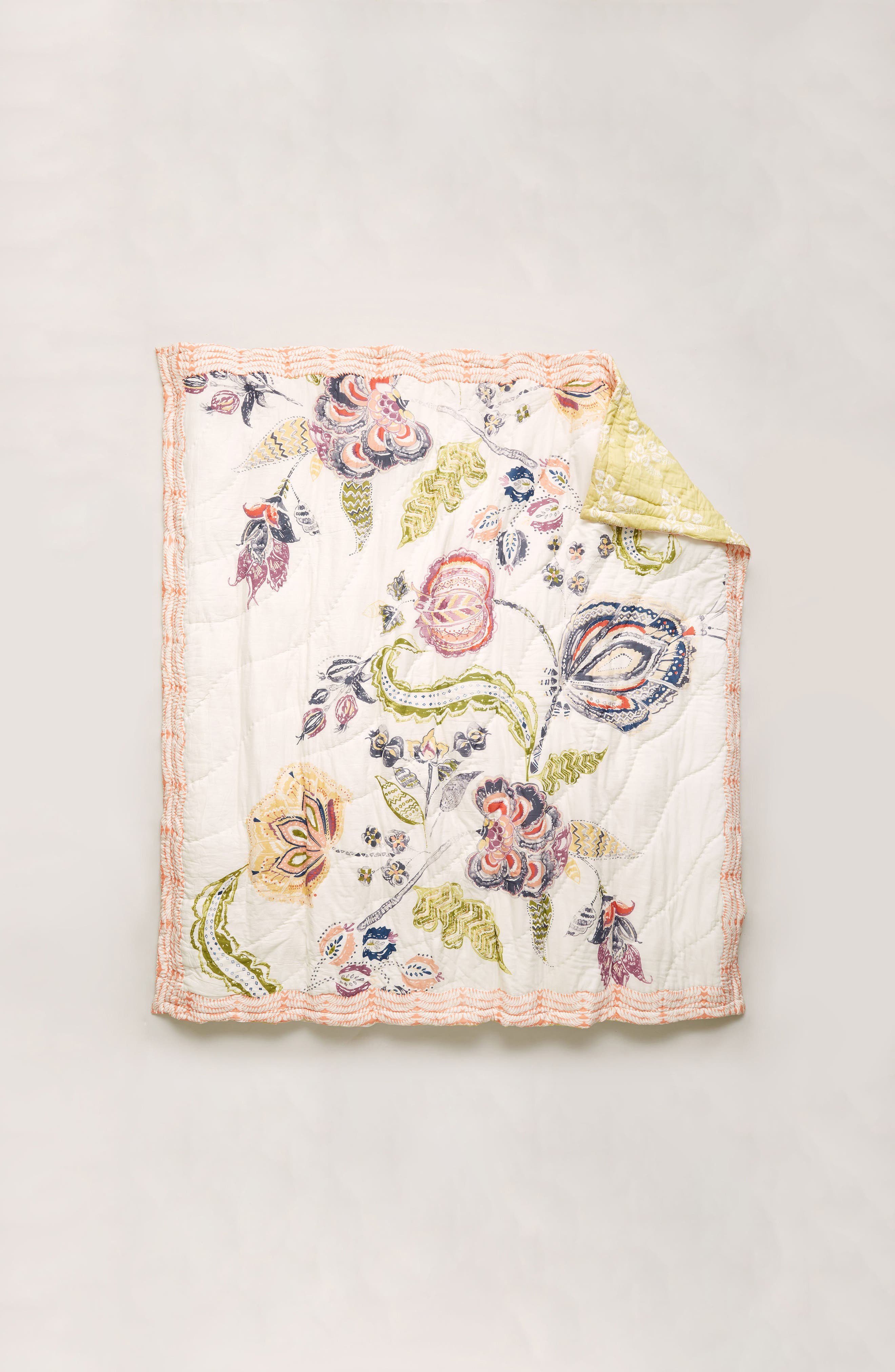 Woodblock Floral Quilt,                             Alternate thumbnail 4, color,                             White Multi