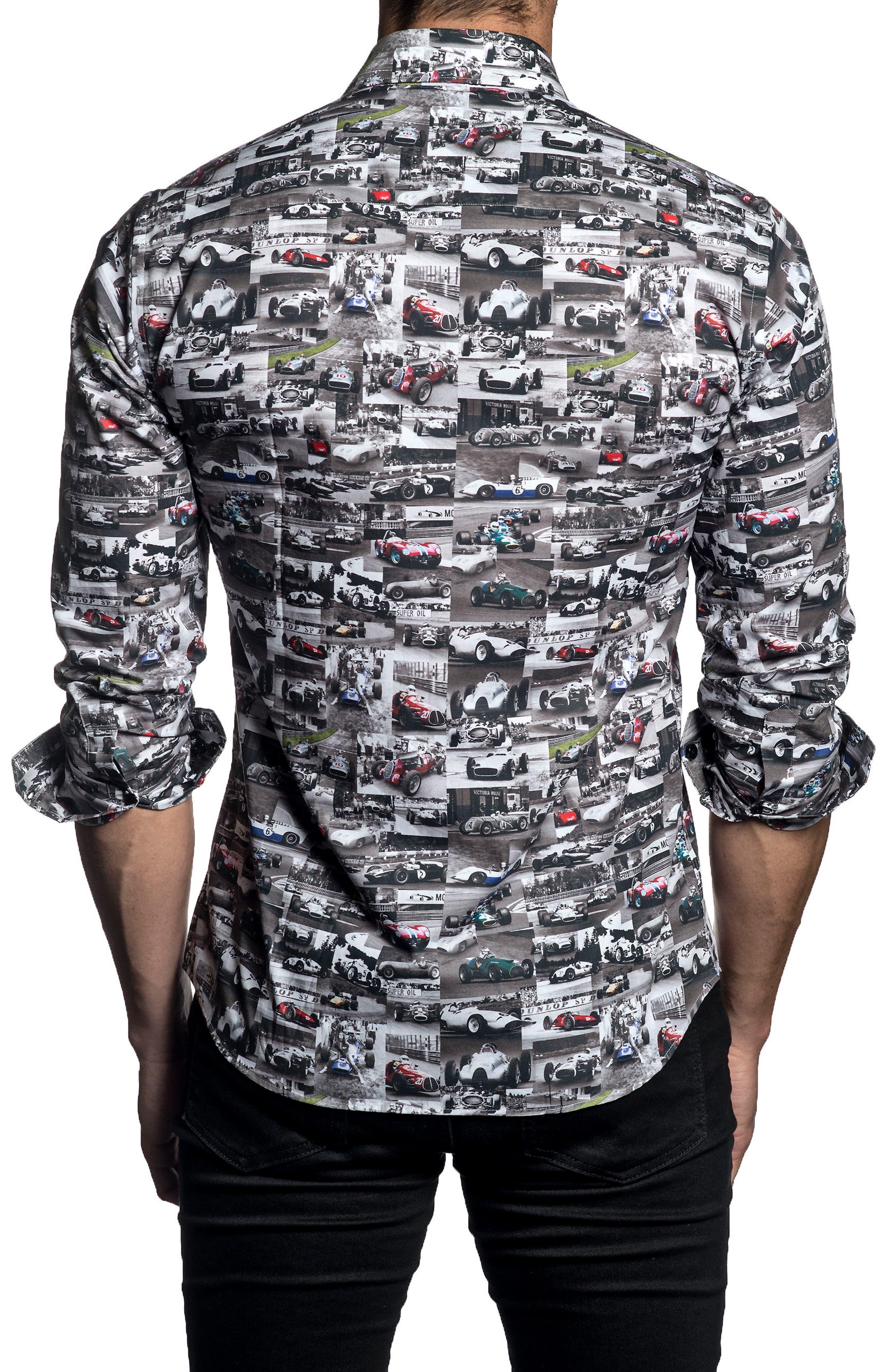 Trim Fit Car Print Sport Shirt,                             Alternate thumbnail 2, color,                             White/ Black Print