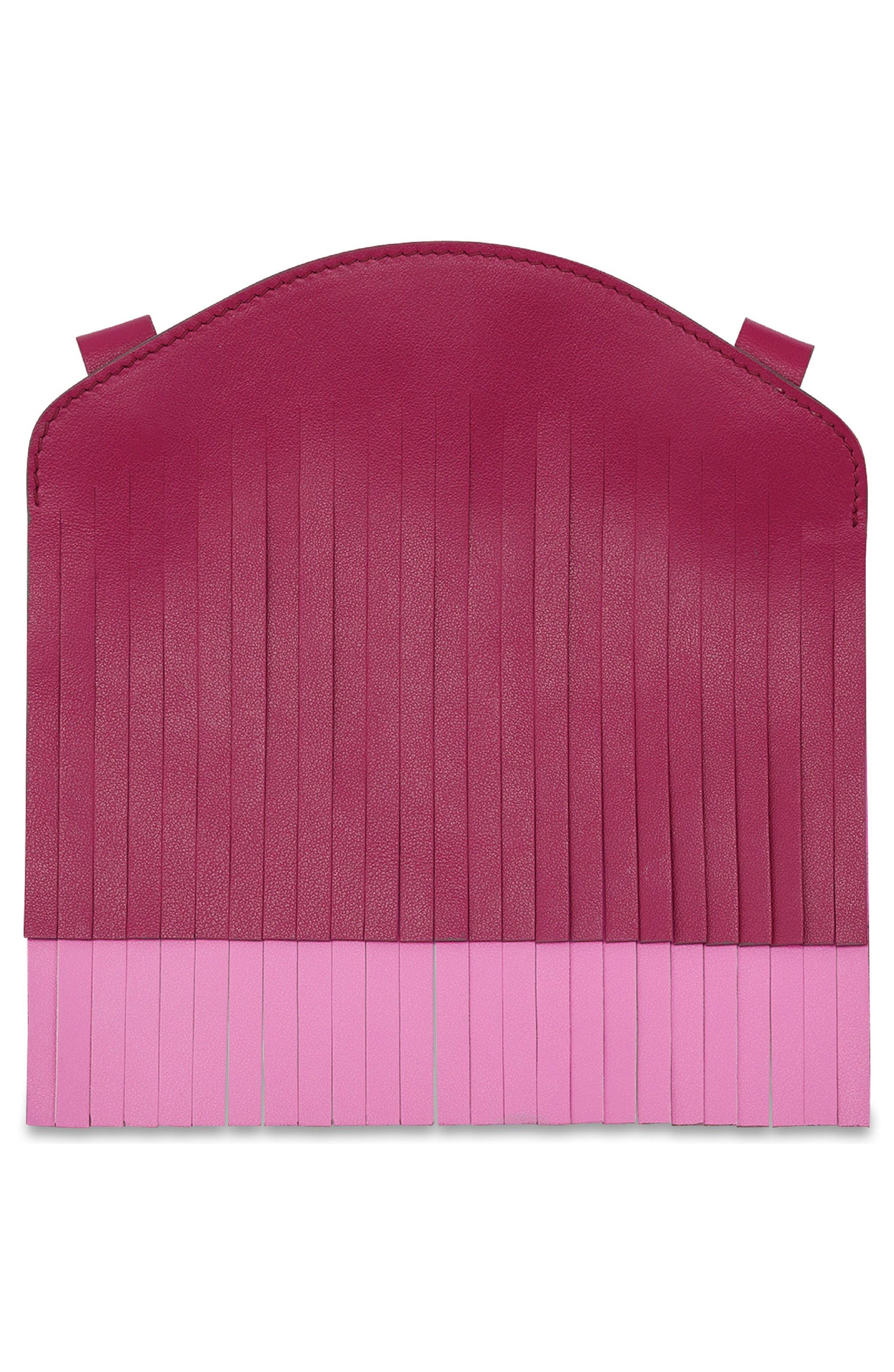 Build a Bag Fringe Leather Panels,                             Alternate thumbnail 3, color,                             Raspberry