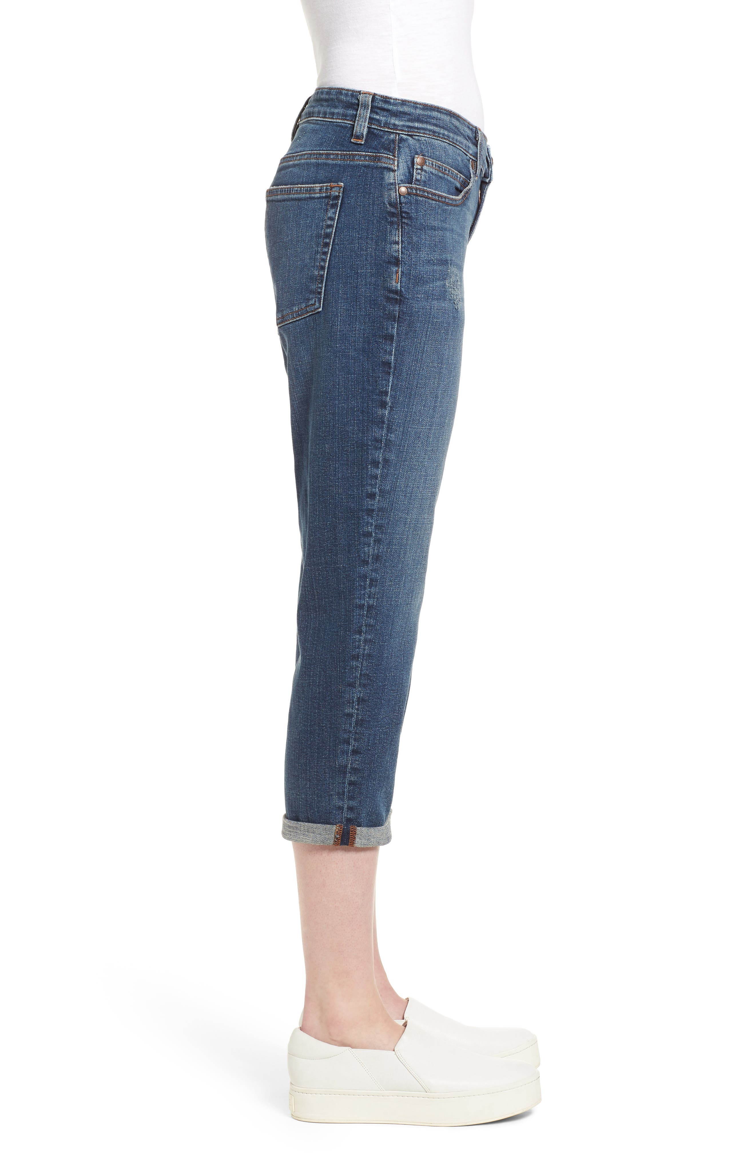 Tapered Stretch Organic Cotton Crop Jeans,                             Alternate thumbnail 3, color,                             Abraded Aged Indigo