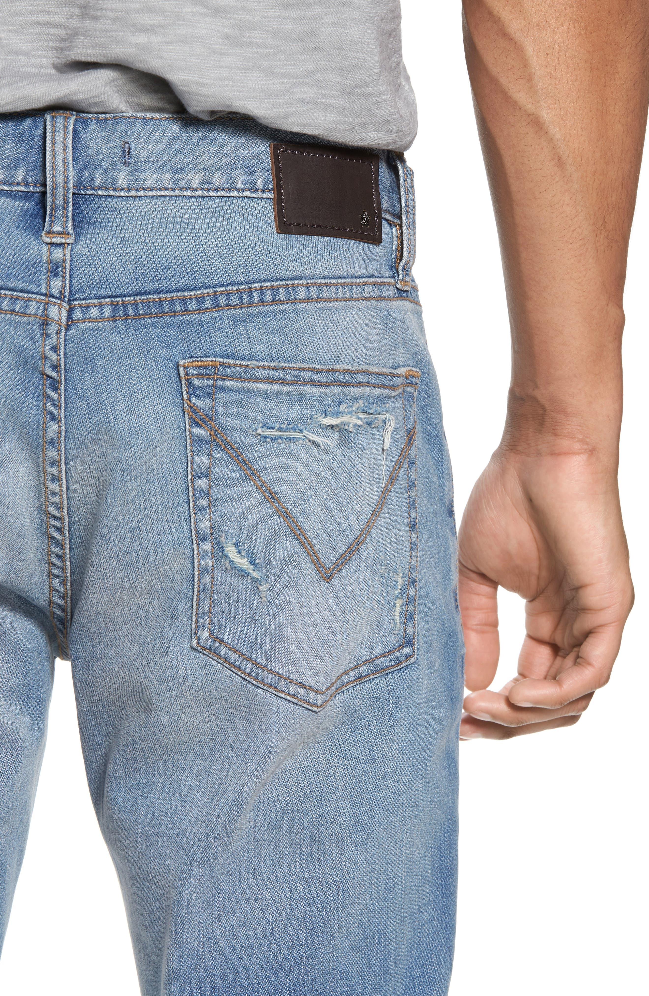 Wight Slim Fit Straight Leg Jeans,                             Alternate thumbnail 4, color,                             Atlantic Blue