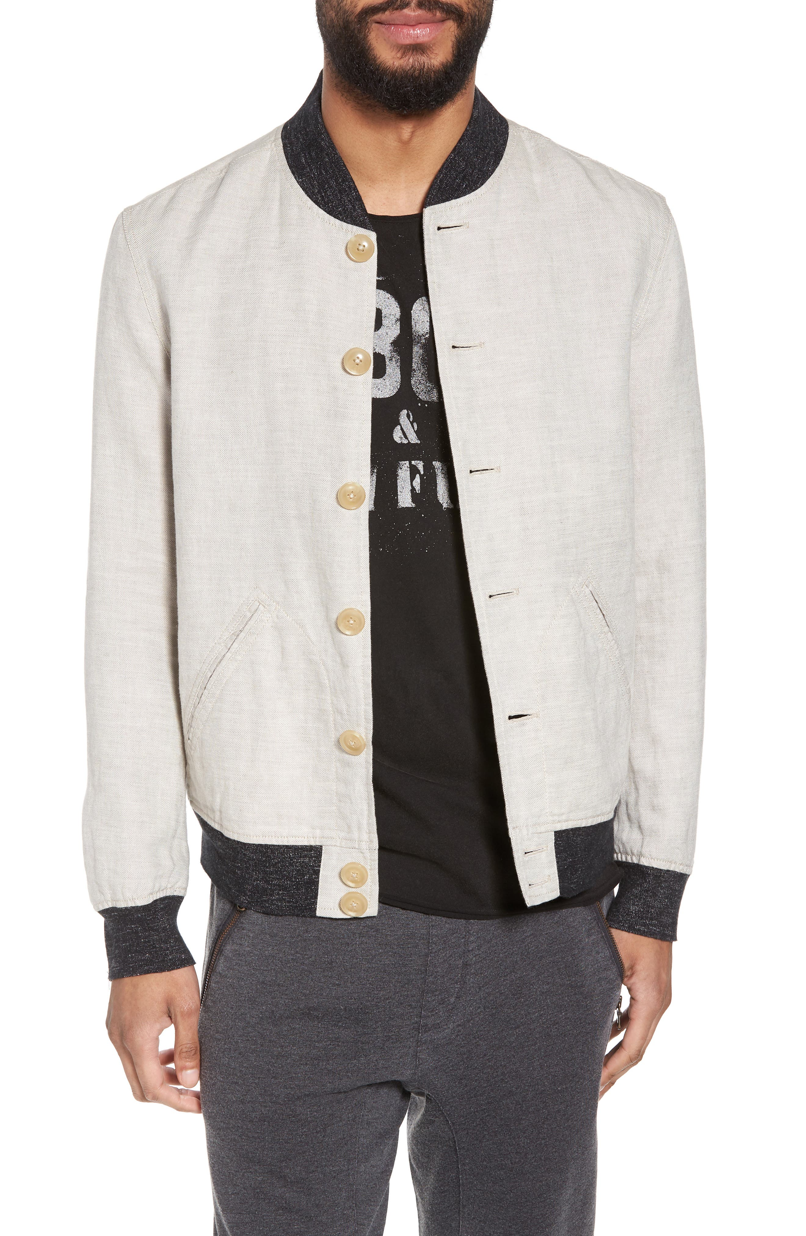 Aged Bomber Jacket,                         Main,                         color, Fossil Grey