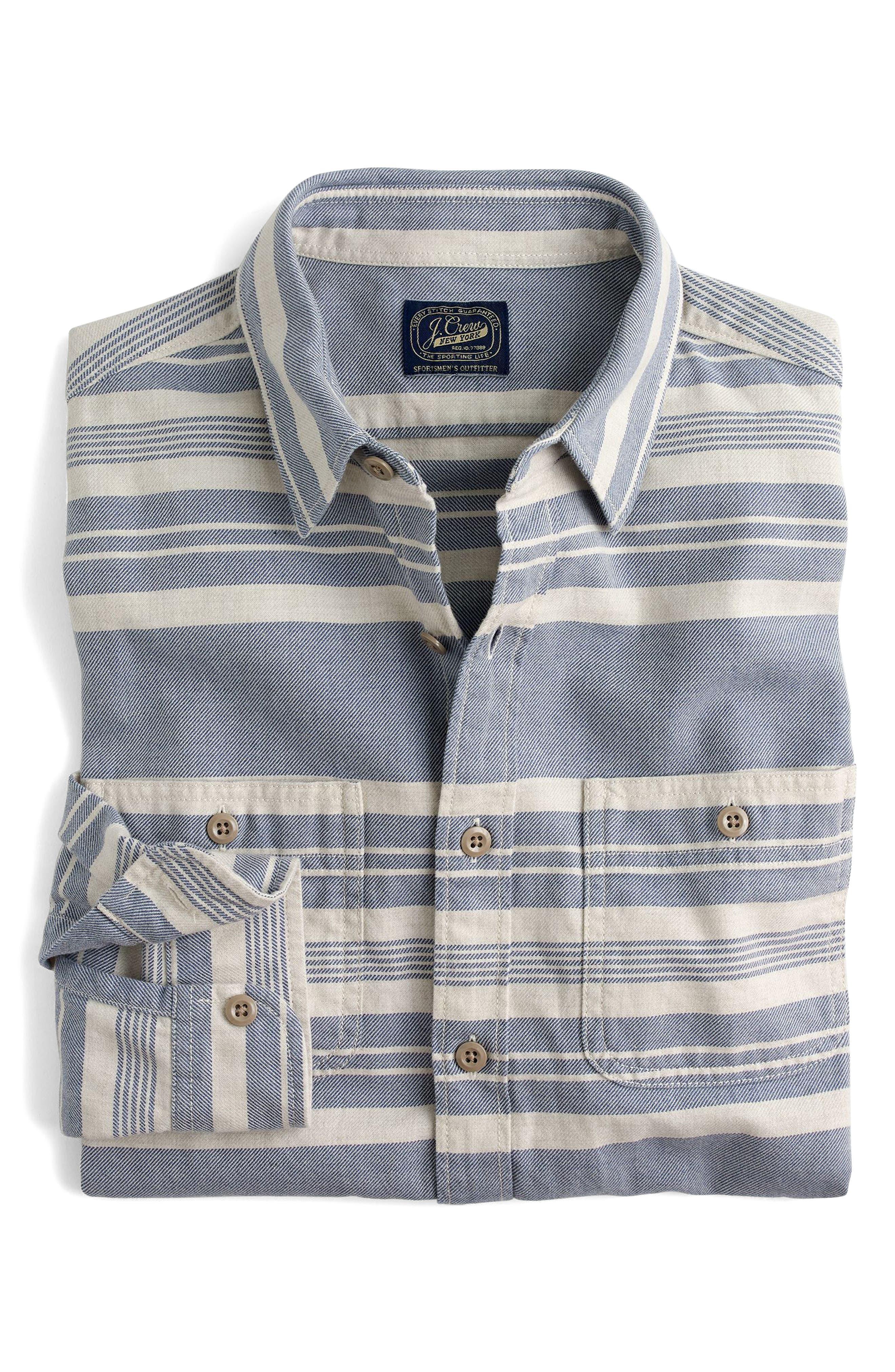 J.Crew Multistripe Flannel Work Shirt,                             Main thumbnail 1, color,                             Concrete Sea