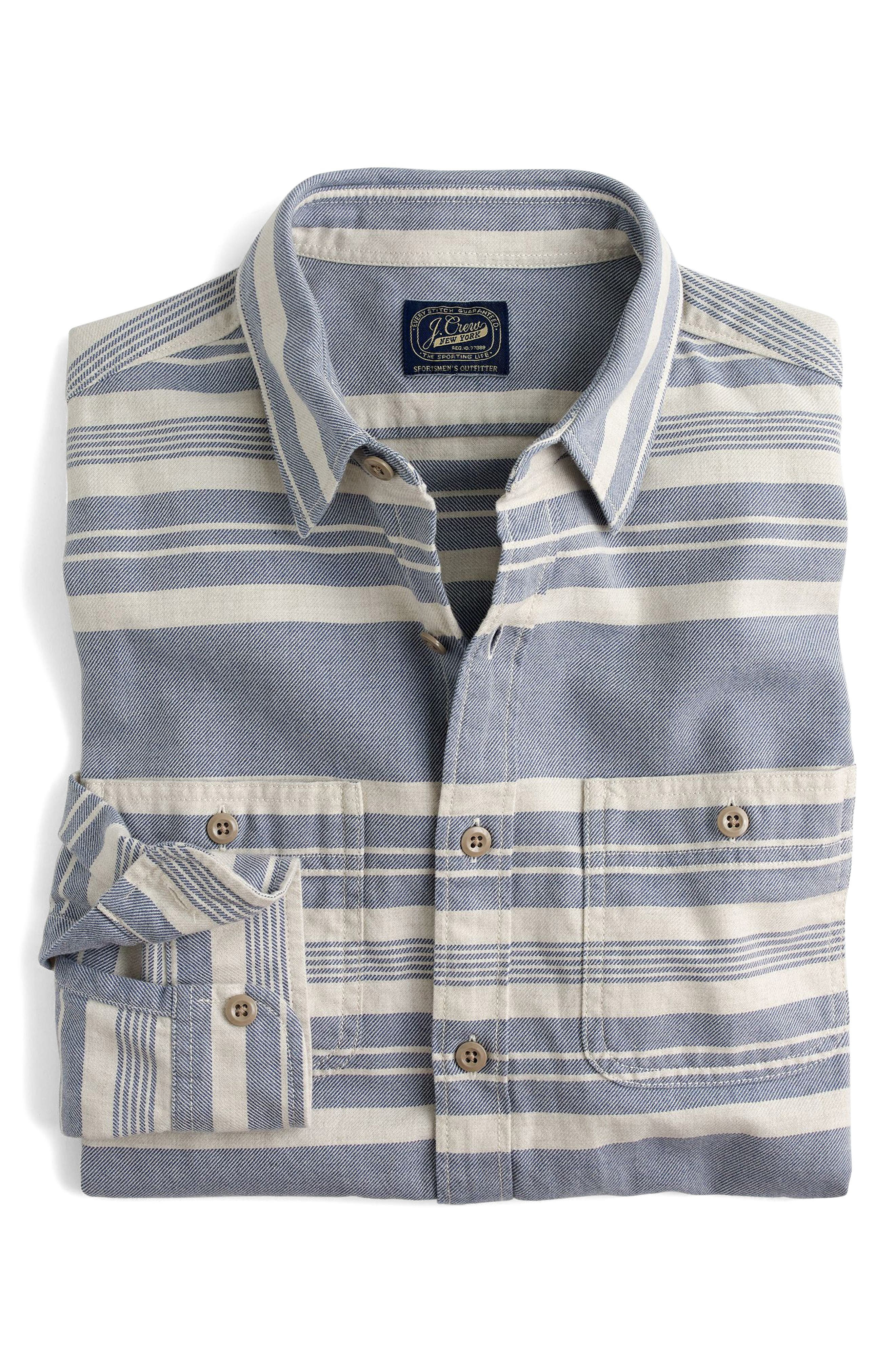 J.Crew Multistripe Flannel Work Shirt,                         Main,                         color, Concrete Sea