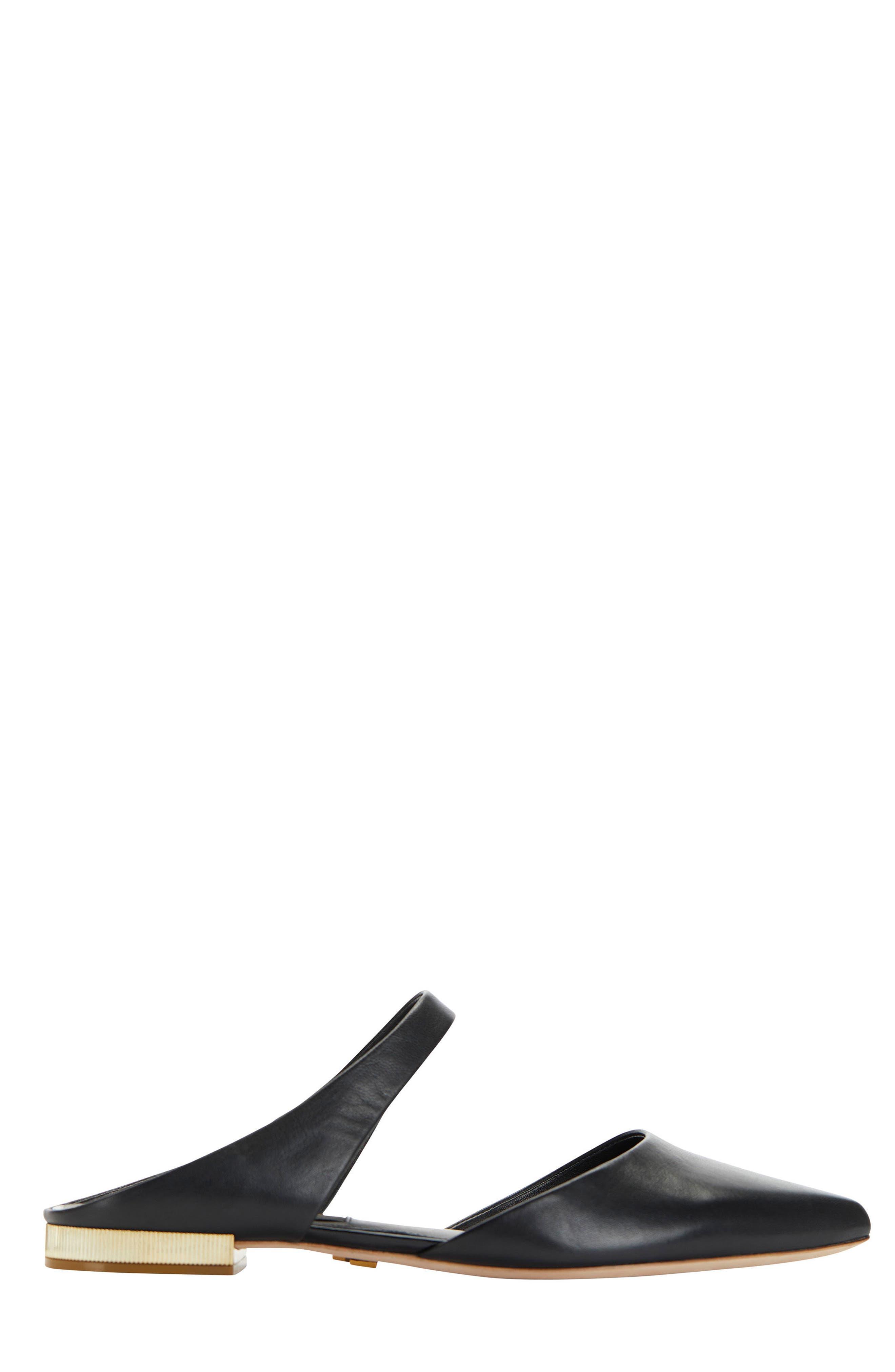Donna Karan Paris Pointy Toe Mule,                             Alternate thumbnail 3, color,                             Black Leather