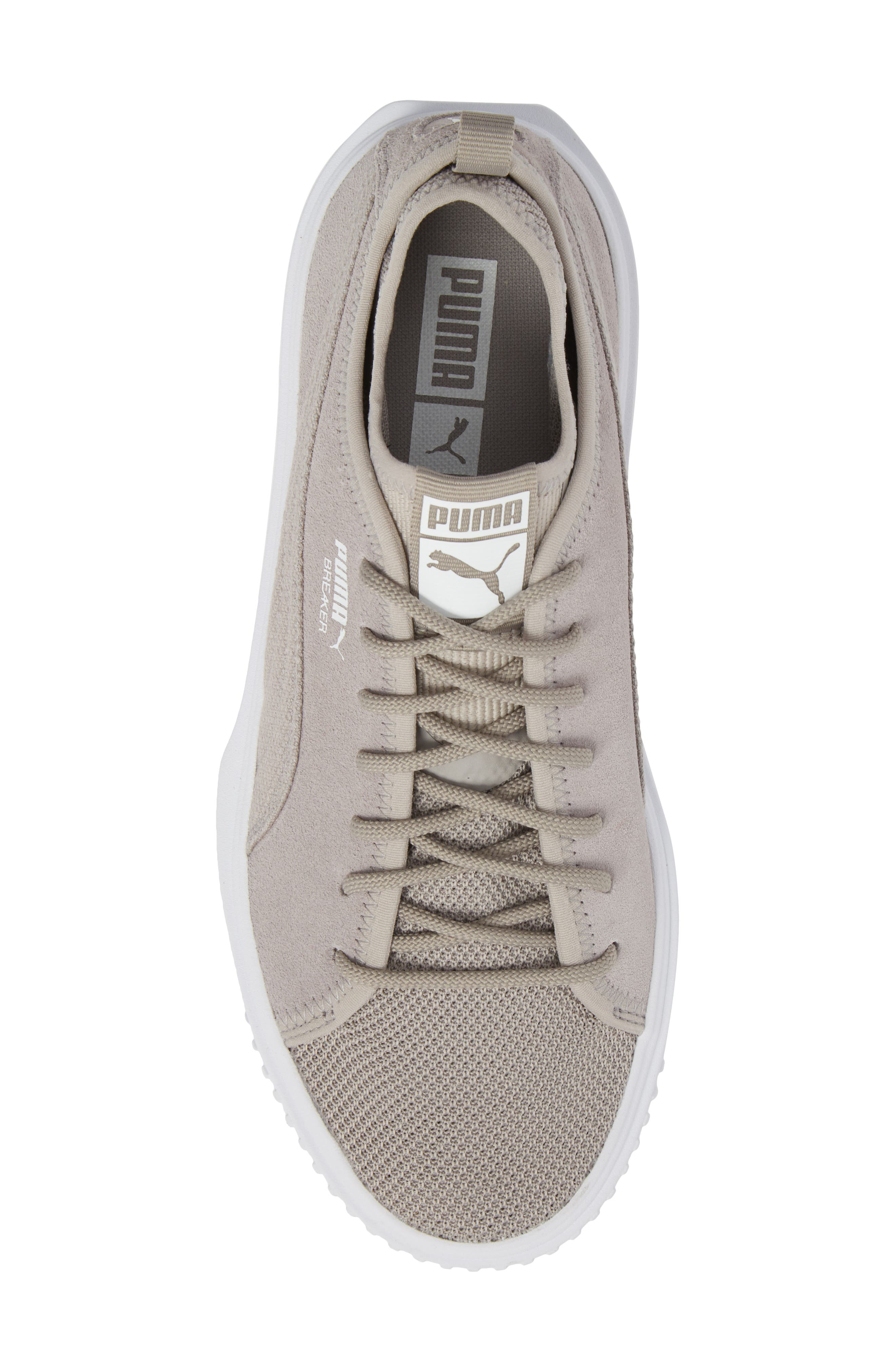 Breaker Mesh Sneaker,                             Alternate thumbnail 5, color,                             Ash/ White Suede