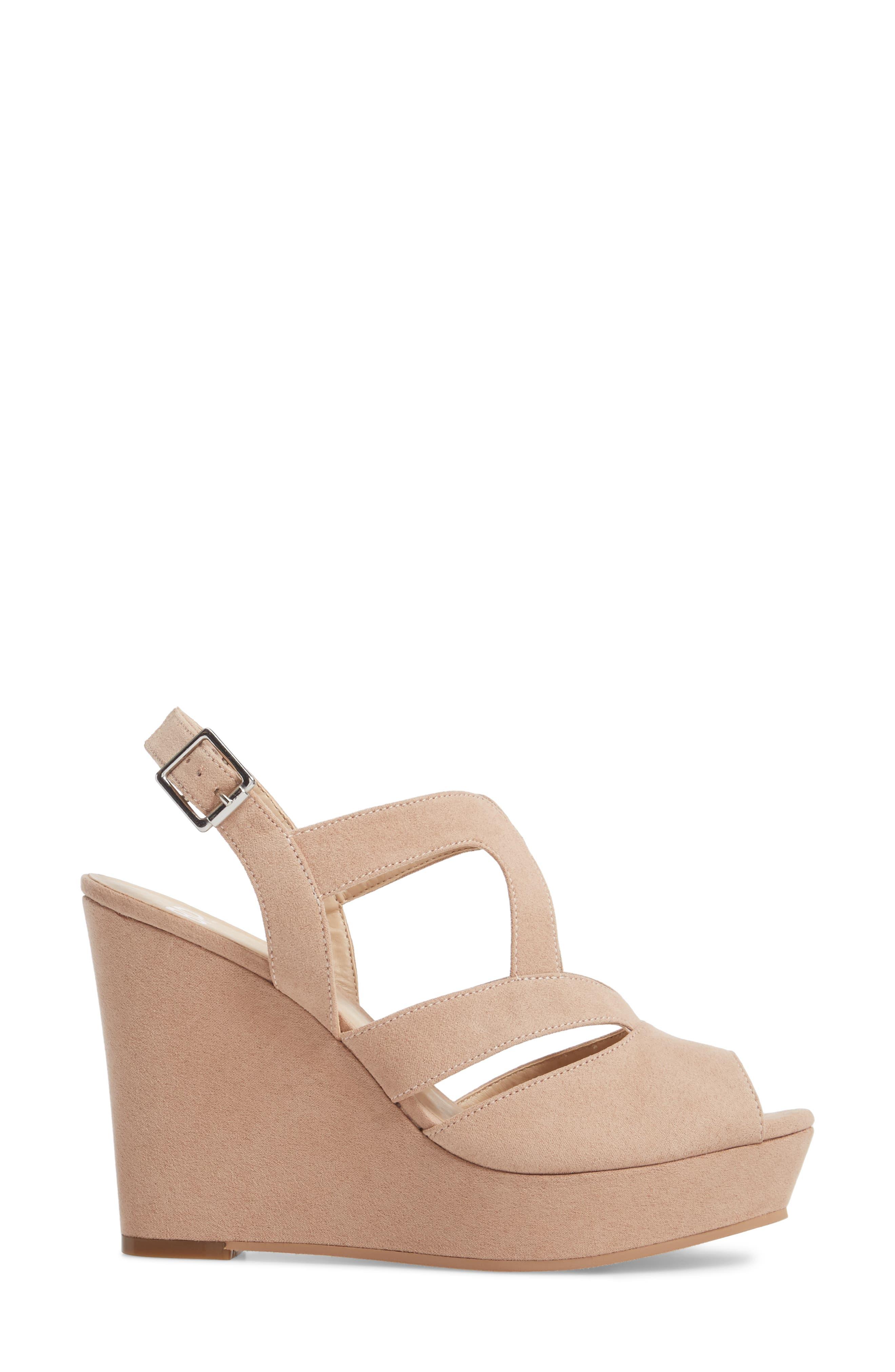 Sunny Platform Wedge Sandal,                             Alternate thumbnail 3, color,                             Nude Faux Suede