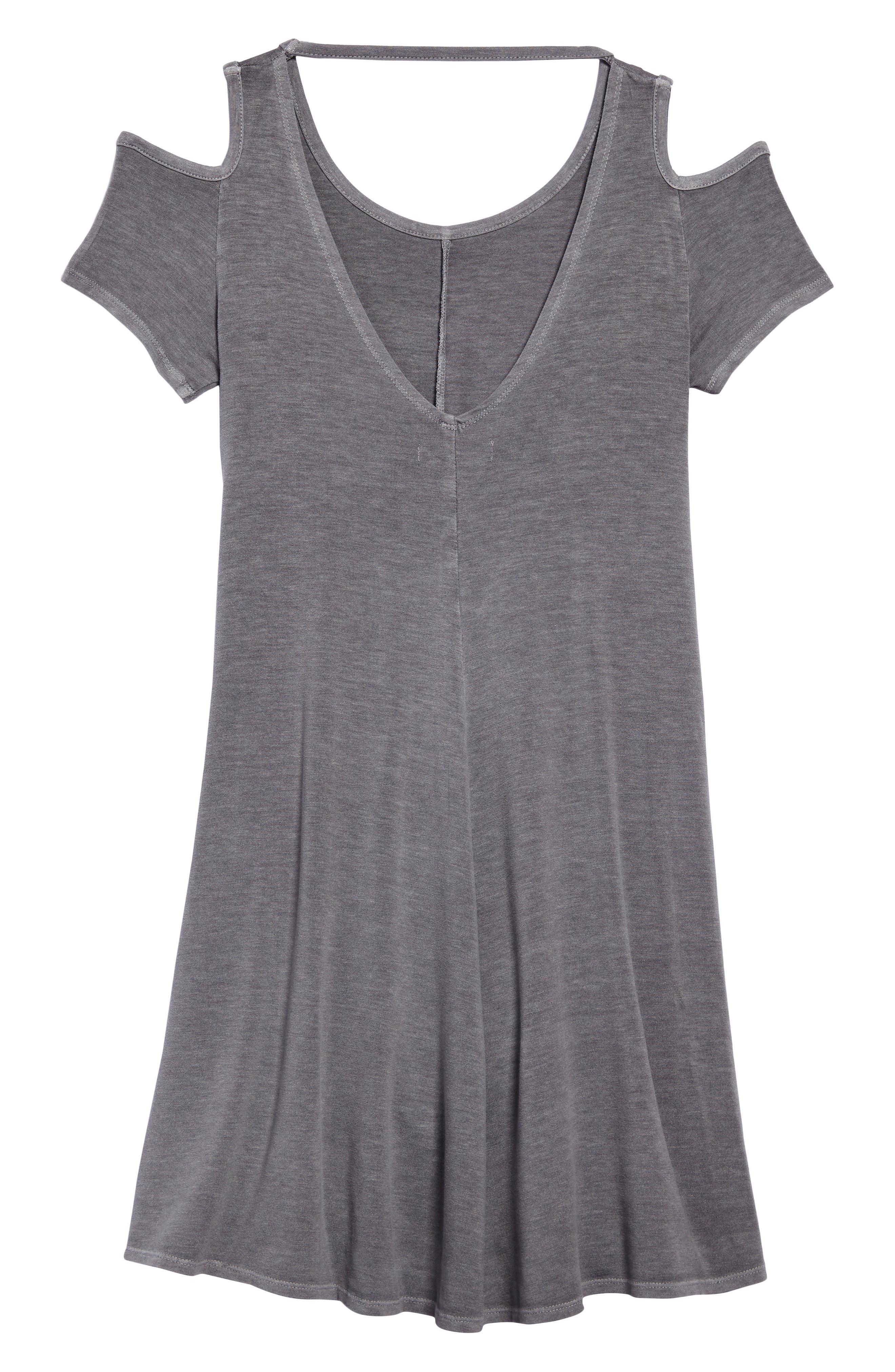 Cold Shoulder Jersey Dress,                             Alternate thumbnail 2, color,                             Grey Castlerock