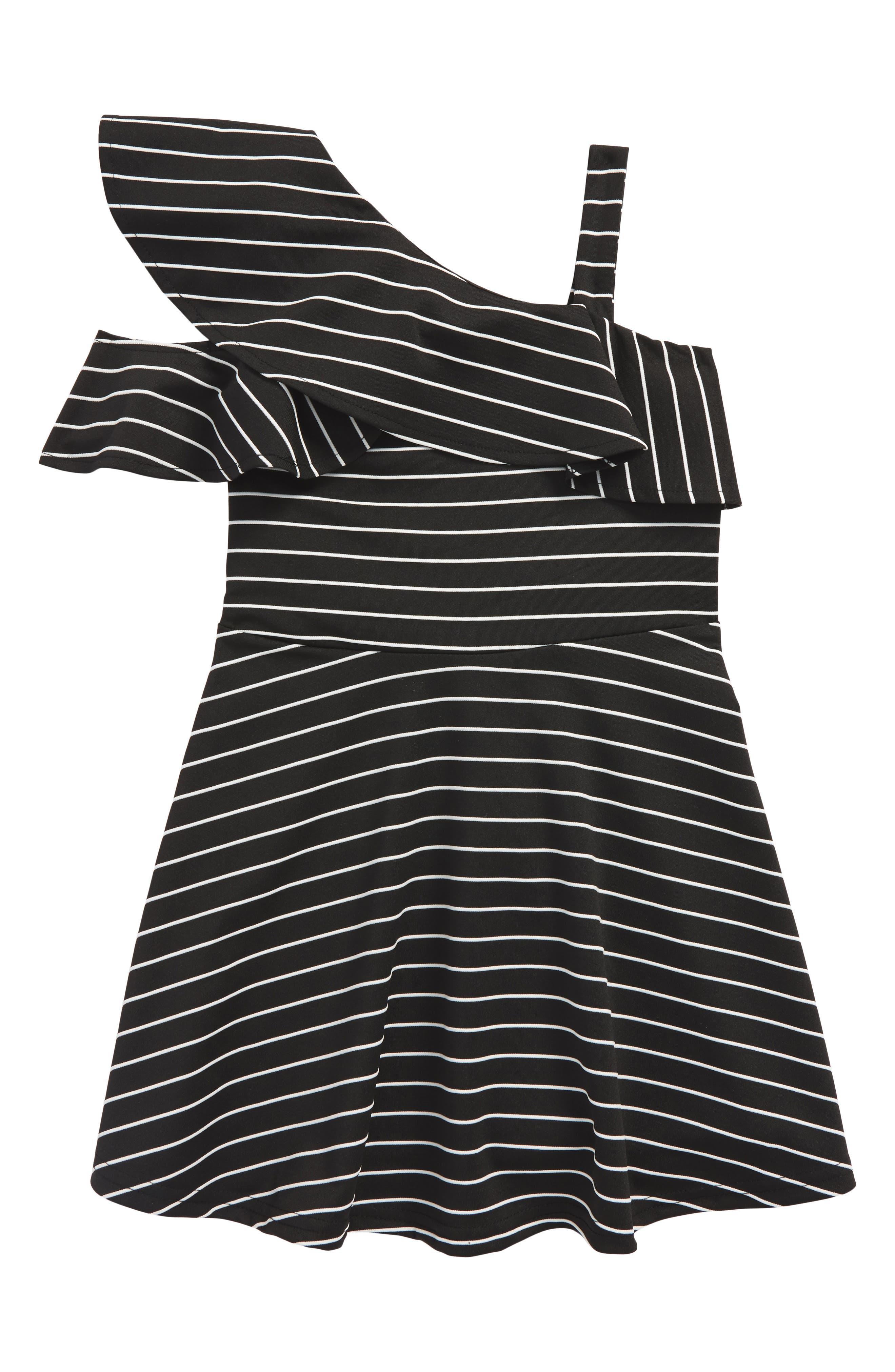 Senna Stripe Asymmetrical Ruffle Dress,                             Main thumbnail 1, color,                             Stripe