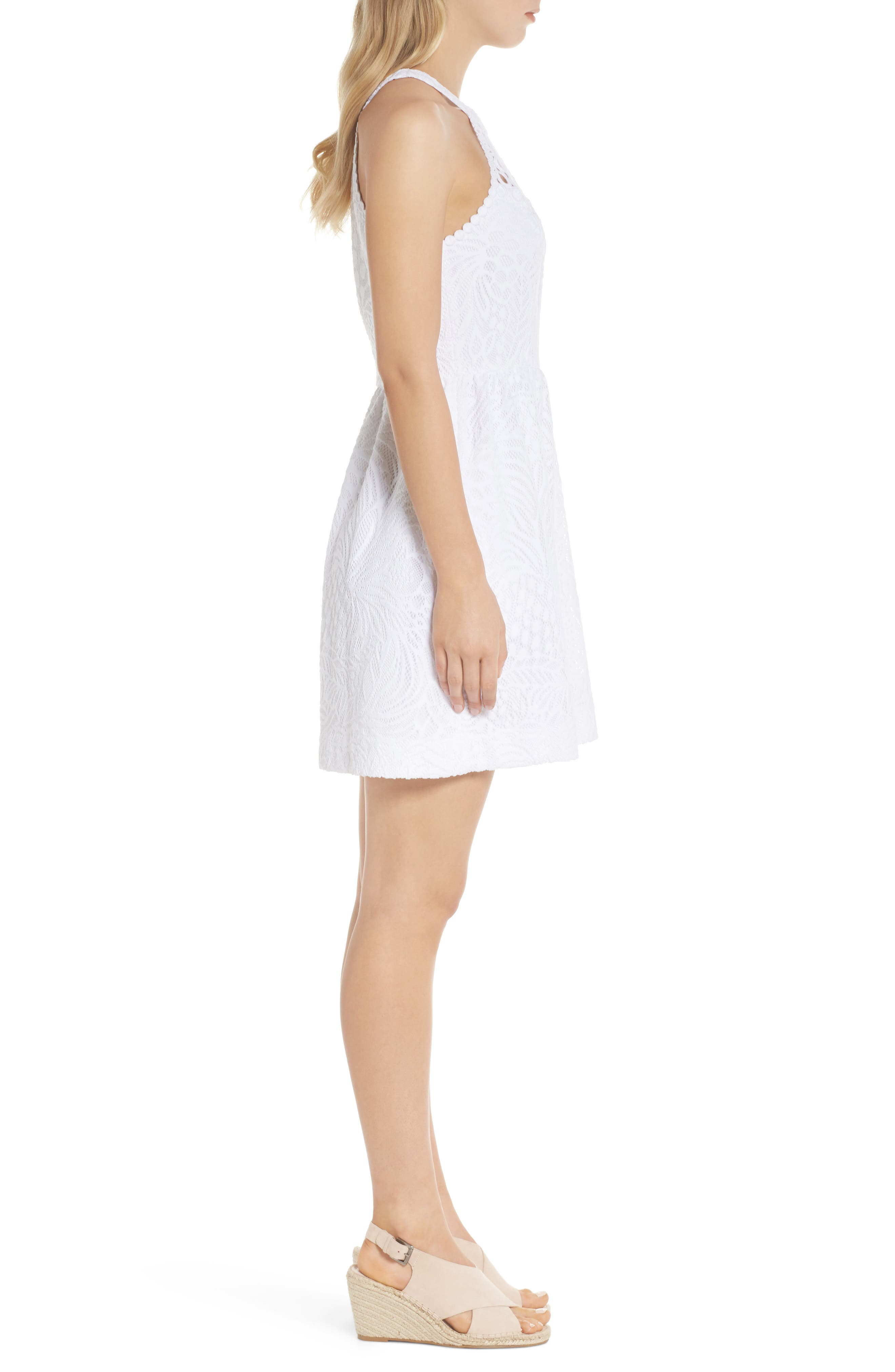 Kinley Halter Dress,                             Alternate thumbnail 3, color,                             Resort White Tropical Lace