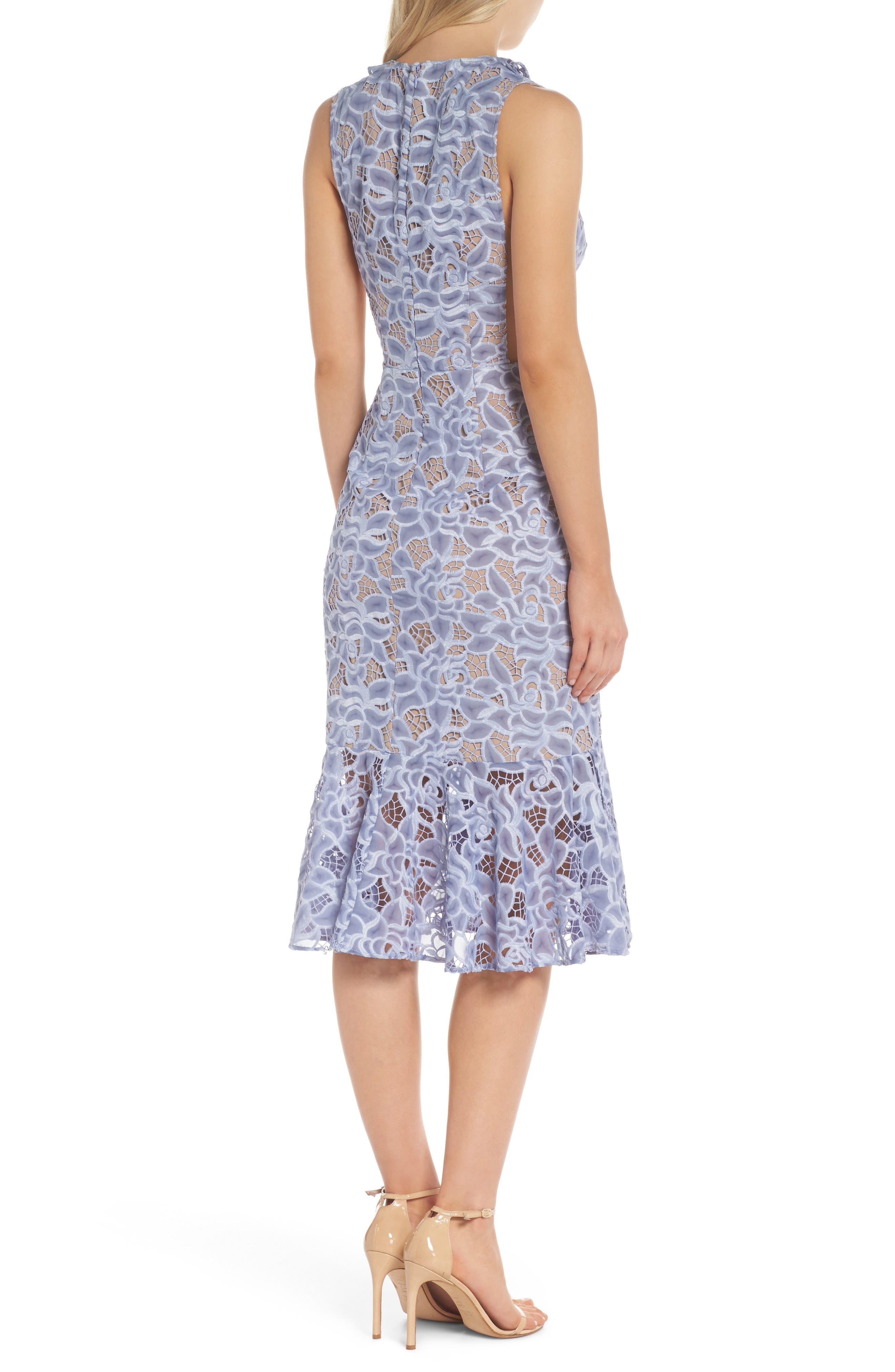 Amelia Ruffle Lace Dress,                             Alternate thumbnail 2, color,                             Cornflower Blue