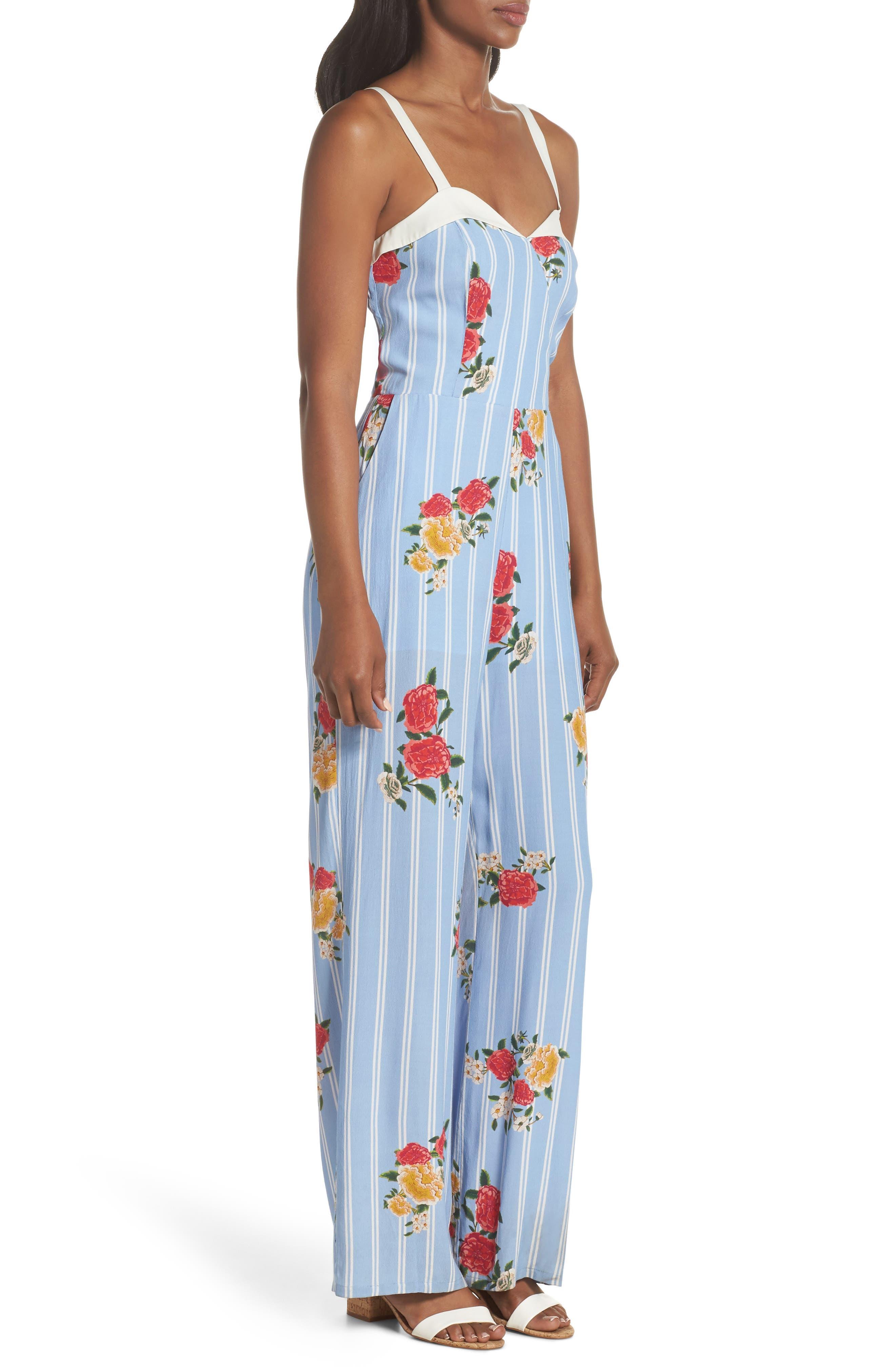 Iris Floral Print Jumpsuit,                             Alternate thumbnail 3, color,                             Azure Blue Multi