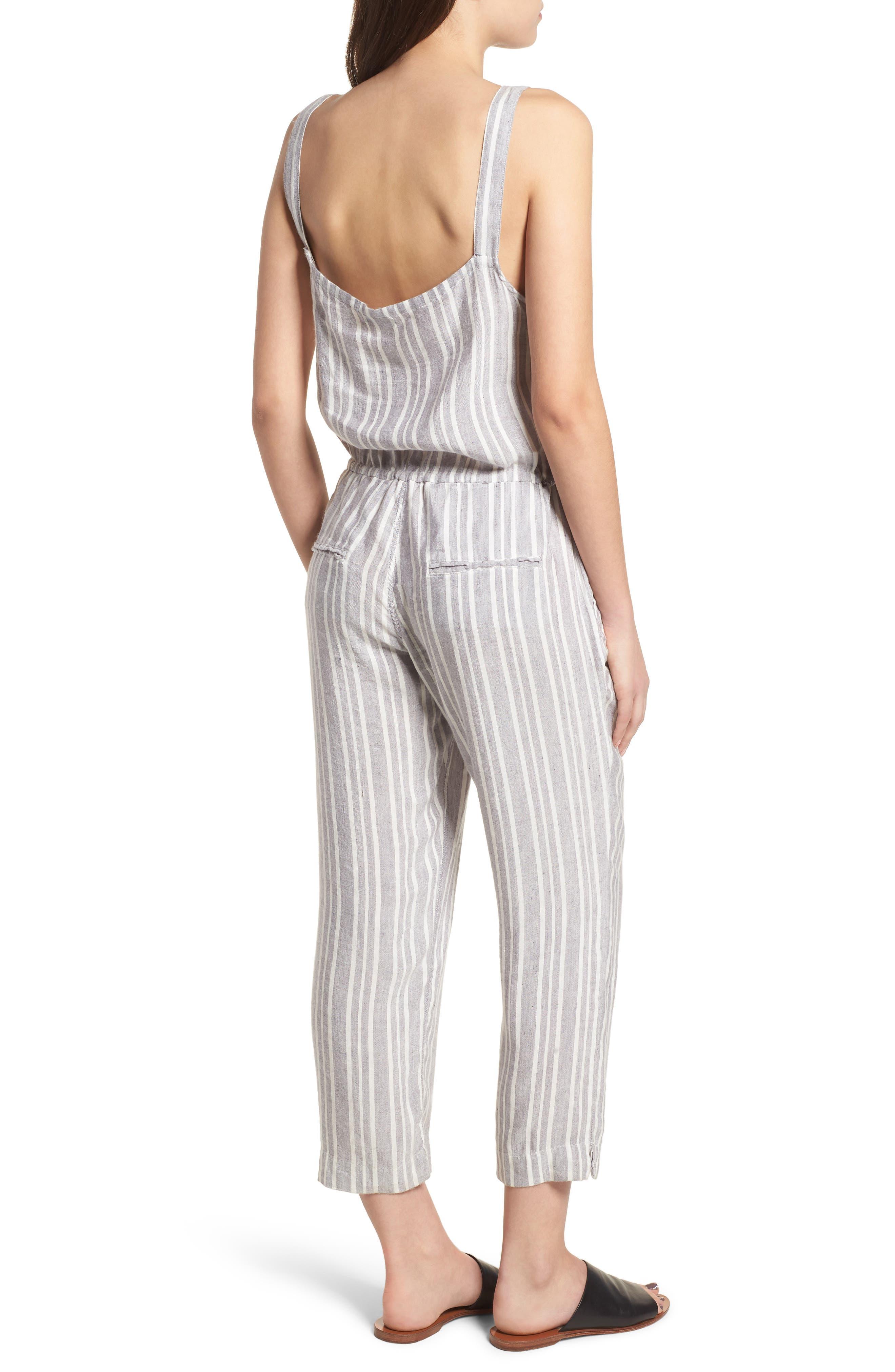 Brooklyn Crop Jumpsuit,                             Alternate thumbnail 2, color,                             Caldas Stripe