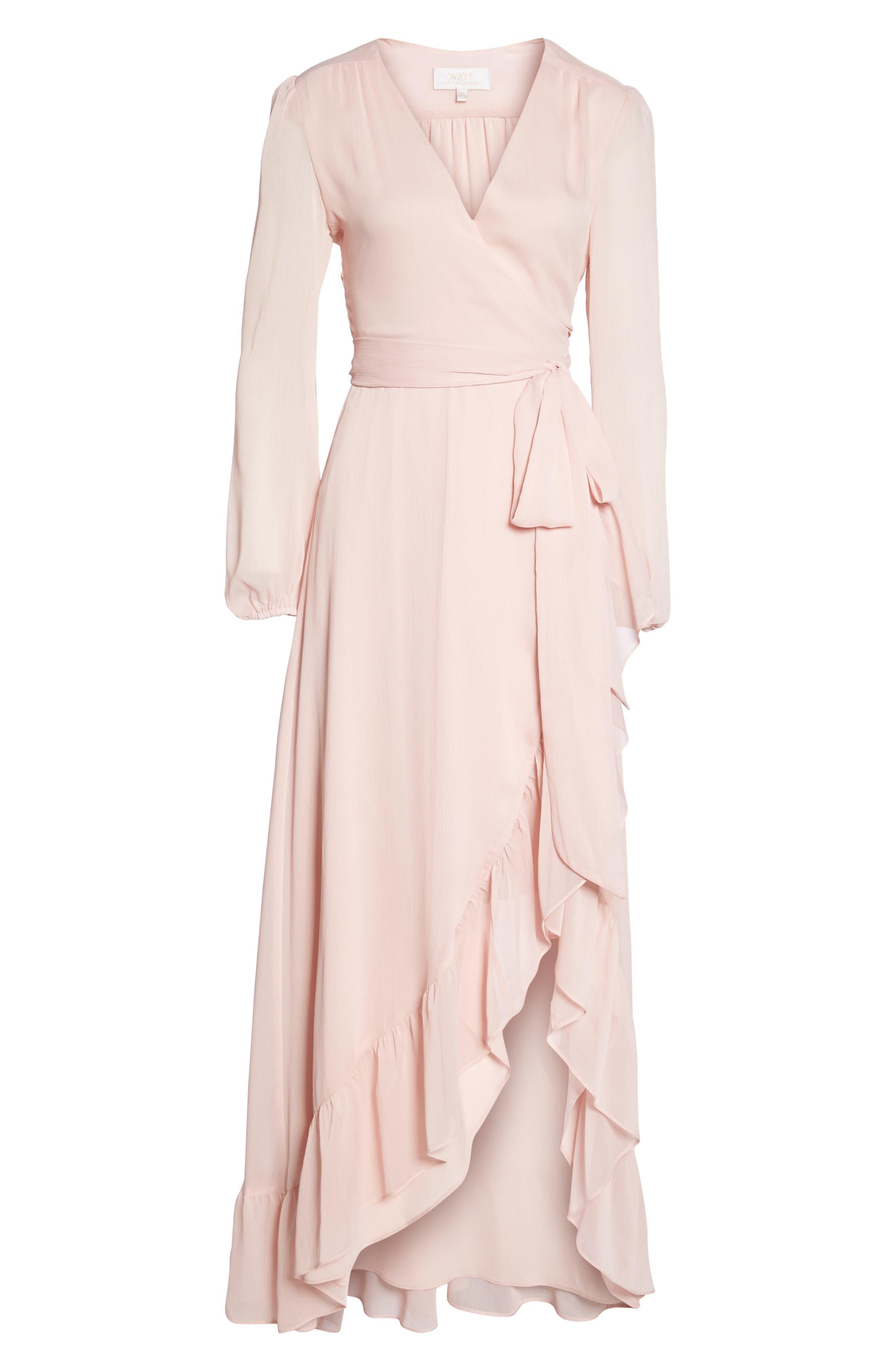 Meryl Long Sleeve Wrap Maxi Dress,                             Alternate thumbnail 6, color,                             Ballet Pink