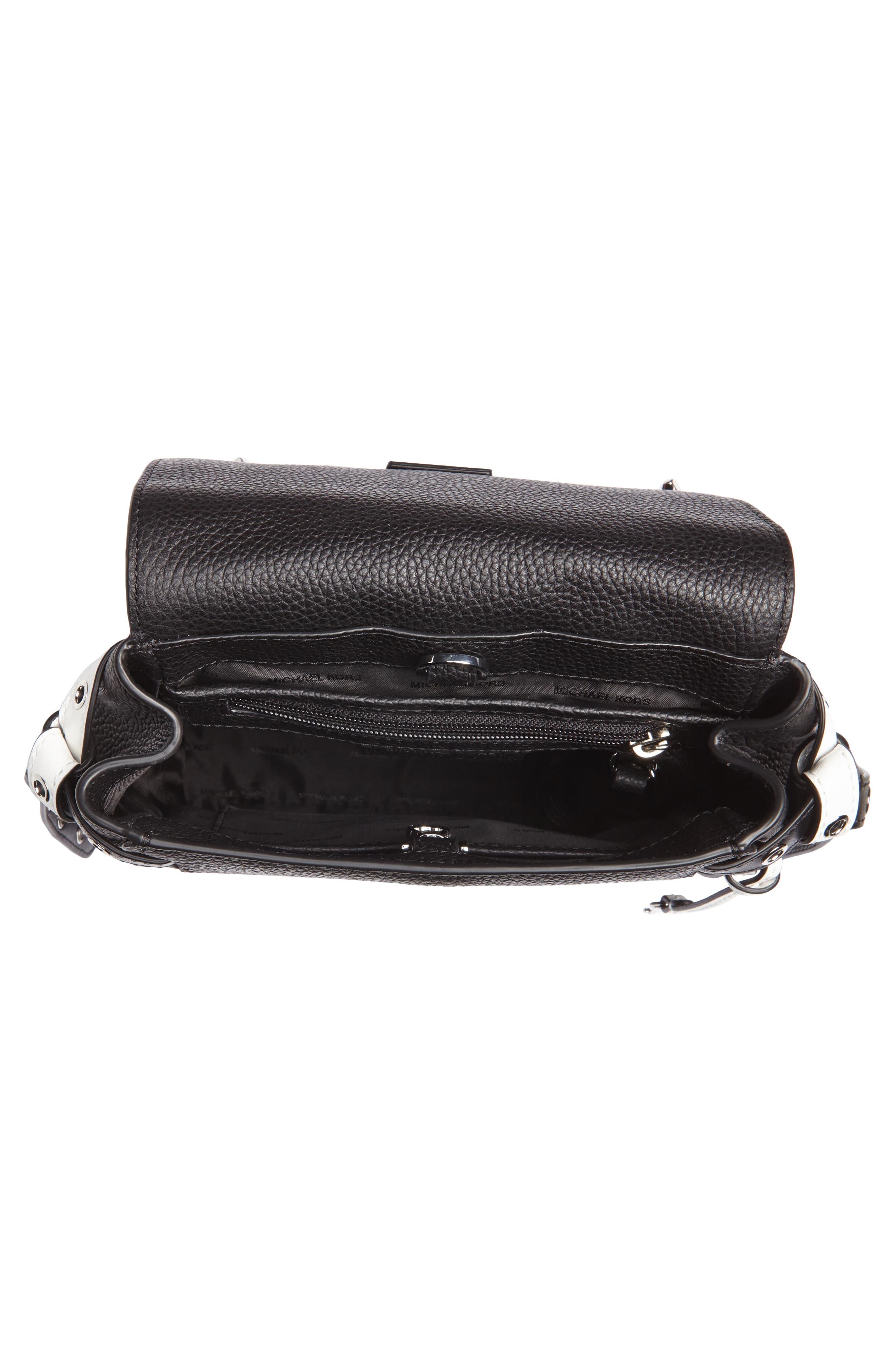 MICHAEL Michael Kors Small Flower Embellished Leather Backpack,                             Alternate thumbnail 4, color,                             Black/ Optic White