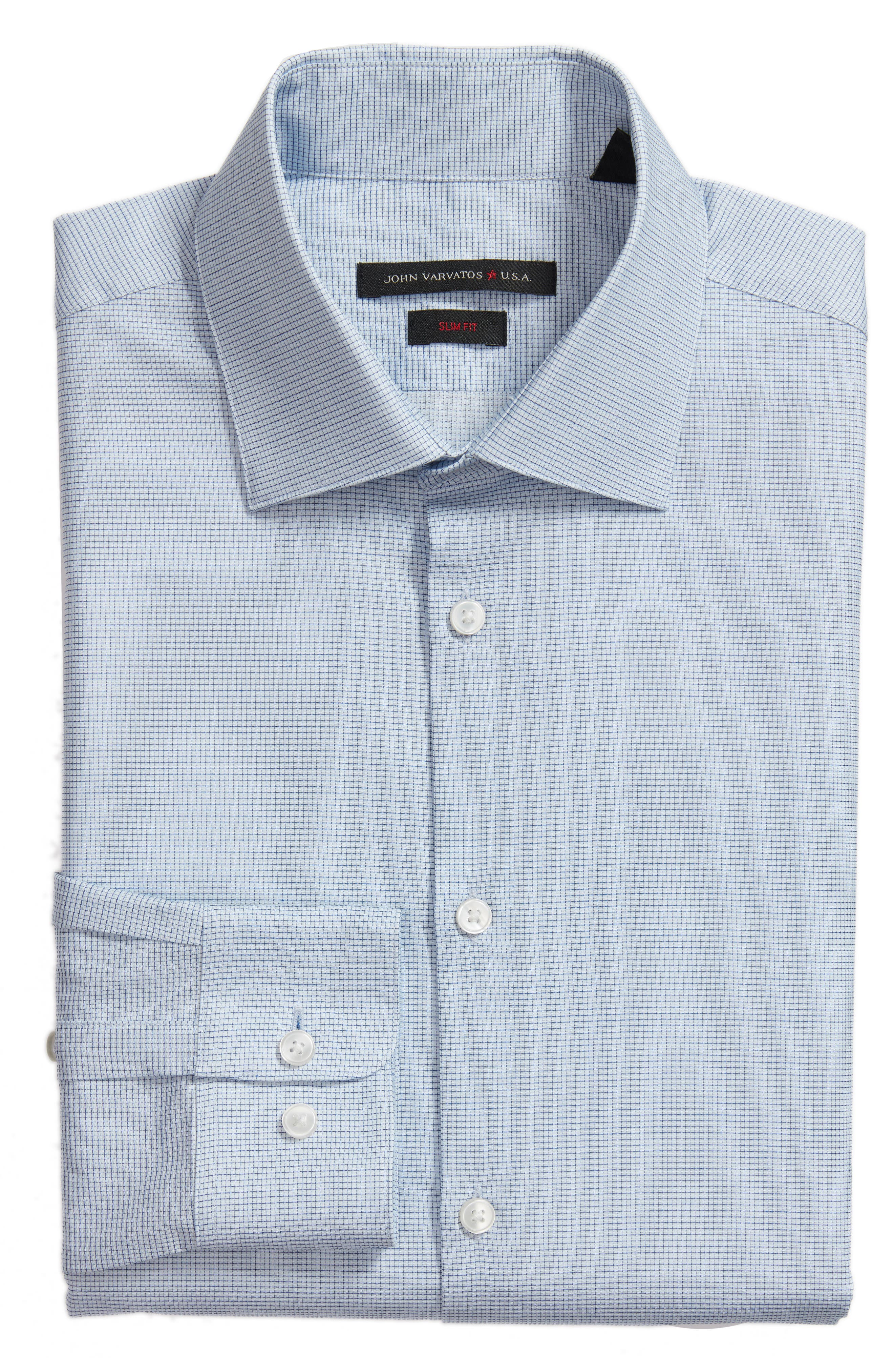 Slim Fit Stretch Microcheck Dress Shirt,                             Alternate thumbnail 6, color,                             Icicle Blue