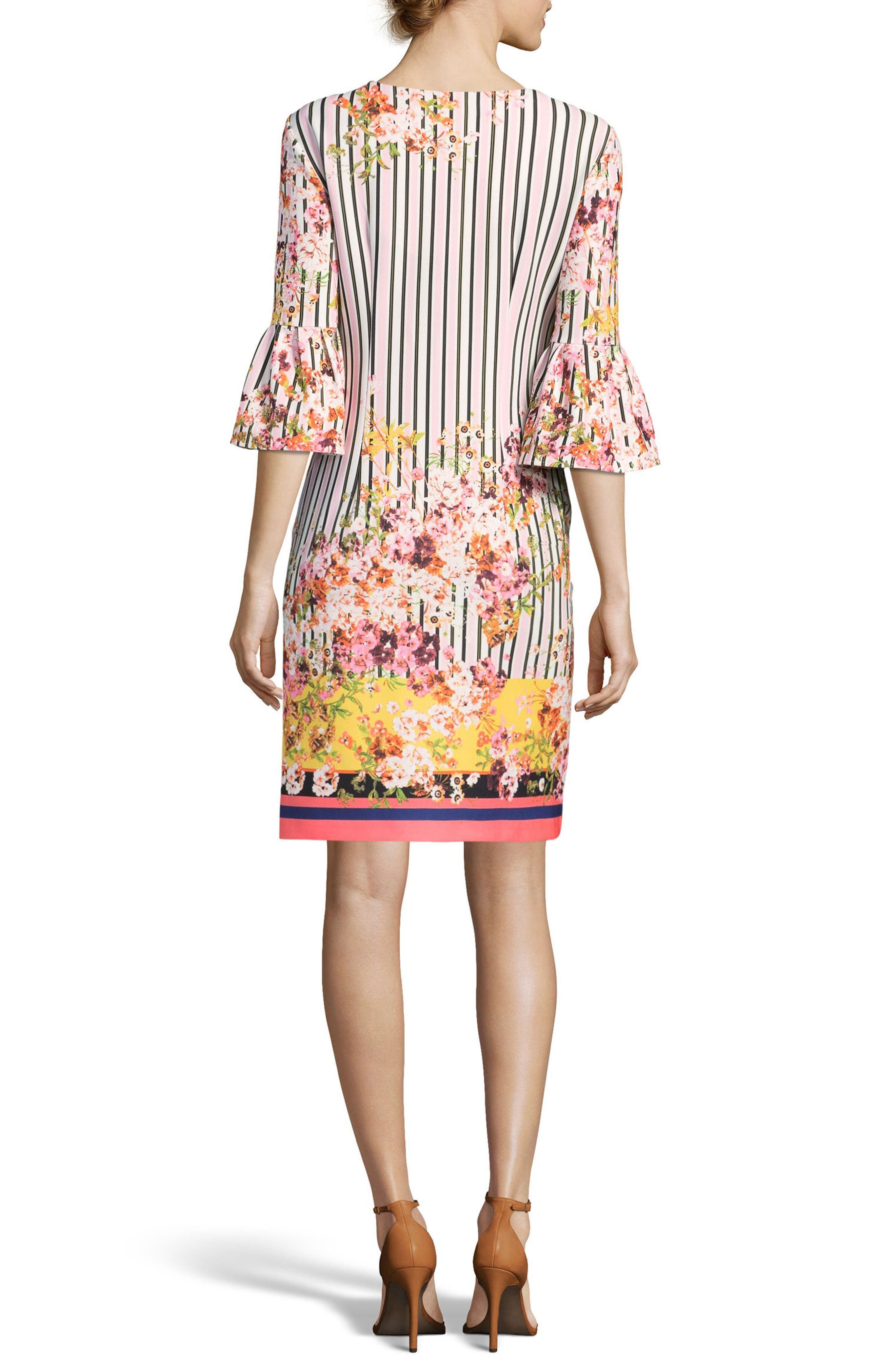 Floral & Stripe Shift Dress,                             Alternate thumbnail 2, color,                             Blush