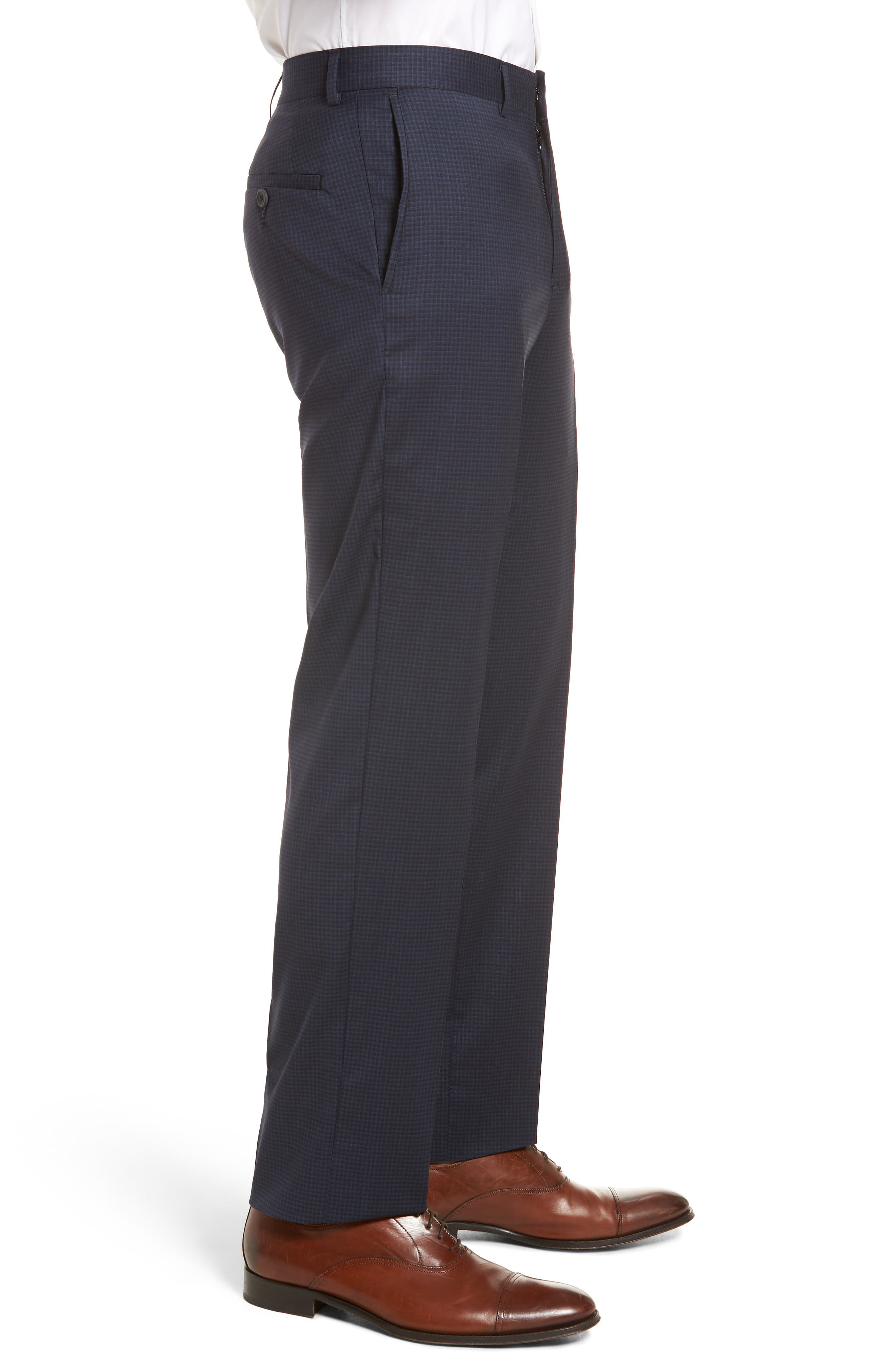 Tech-Smart Check Flat Front Stretch Wool Pants,                             Alternate thumbnail 3, color,                             Navy