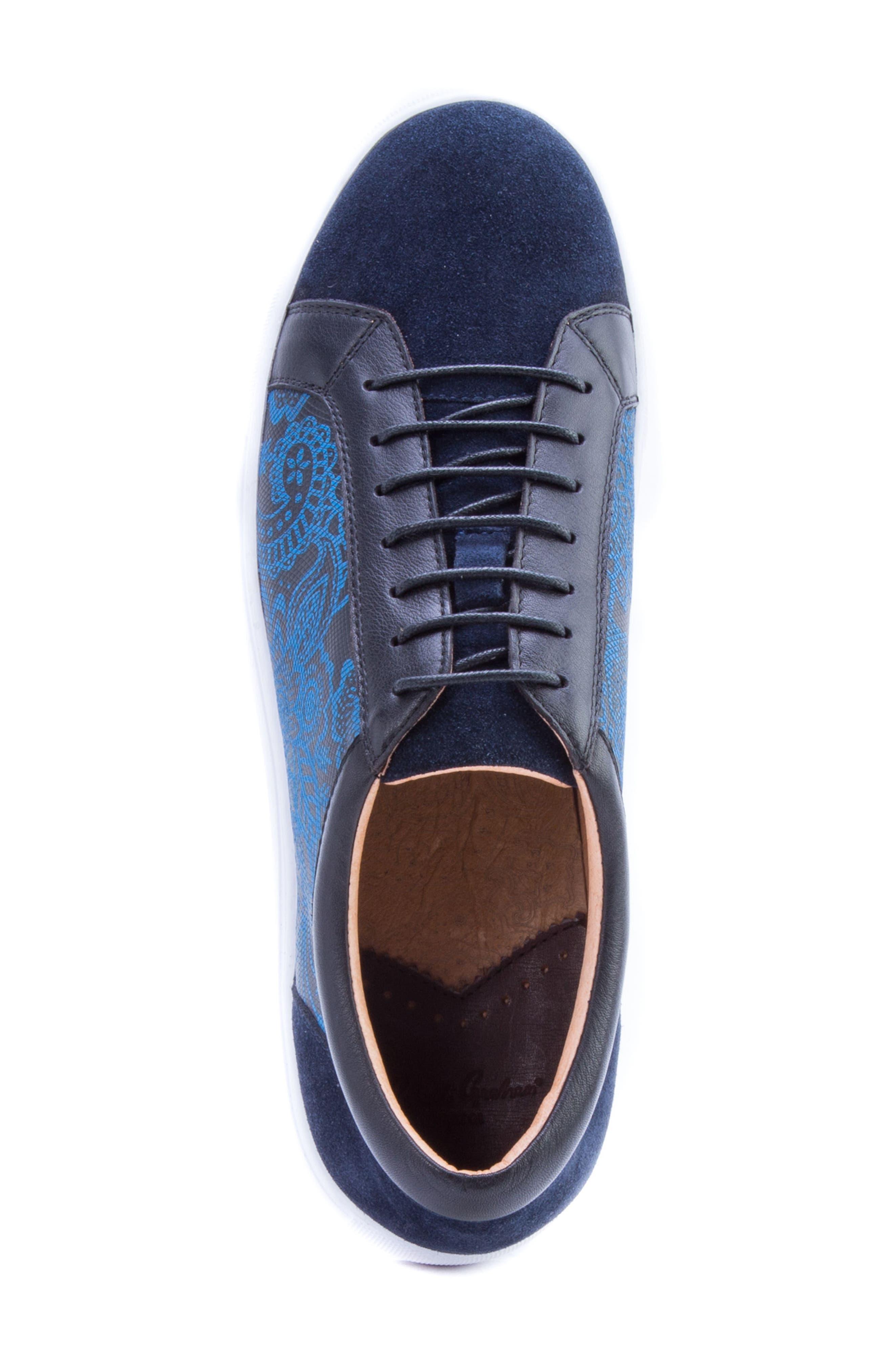 Rubio Floral Sneaker,                             Alternate thumbnail 5, color,                             Navy Suede