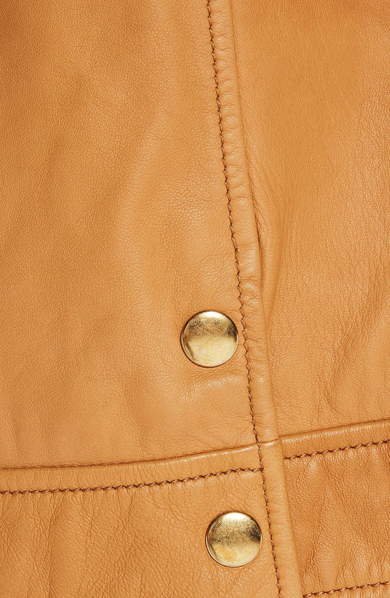 Sheepskin Leather Shirt Jacket,                             Alternate thumbnail 5, color,                             Color 1942 Sahara