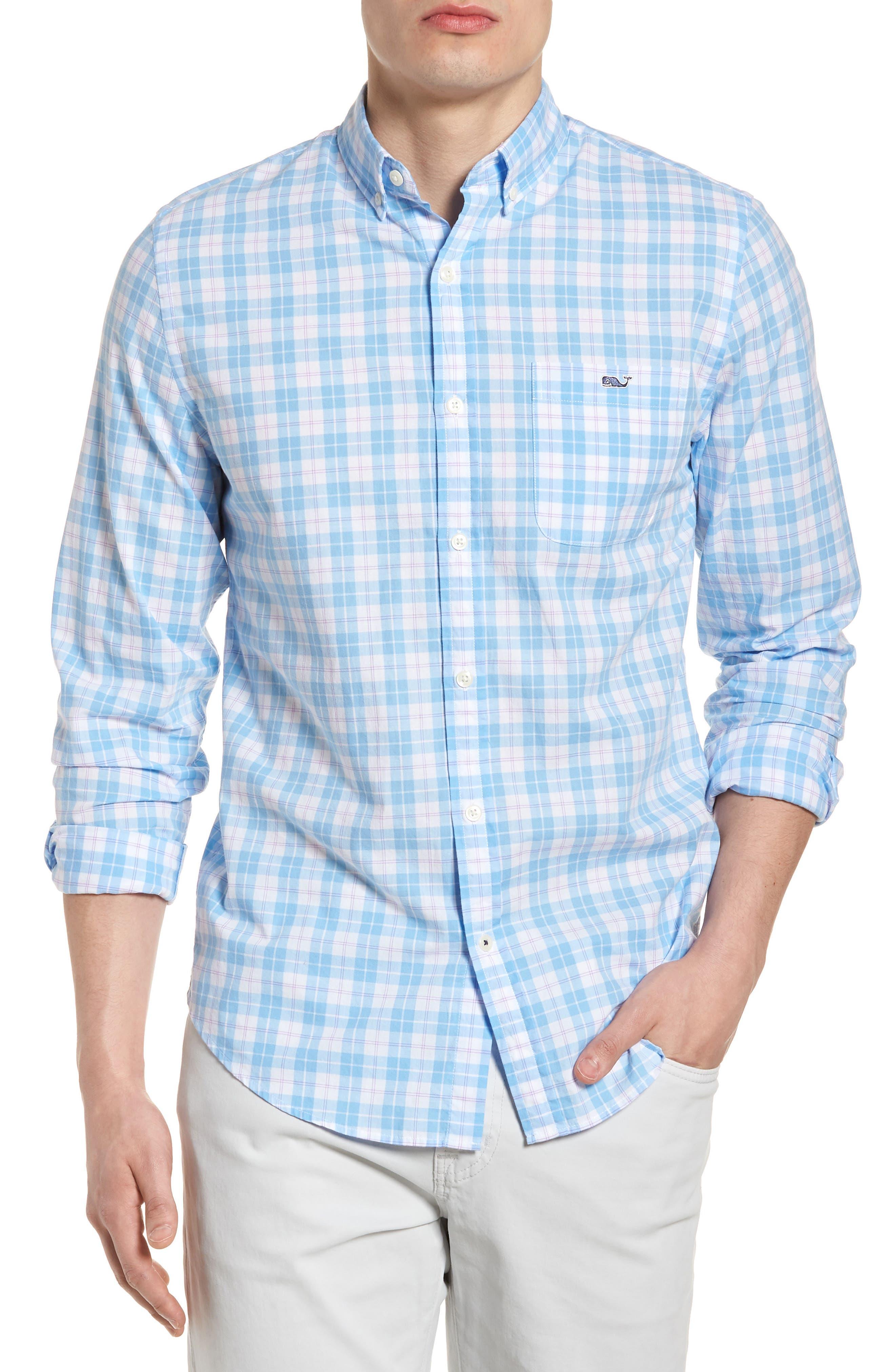 Shallow Sea Slim Fit Plaid Sport Shirt,                         Main,                         color, Ocean Breeze