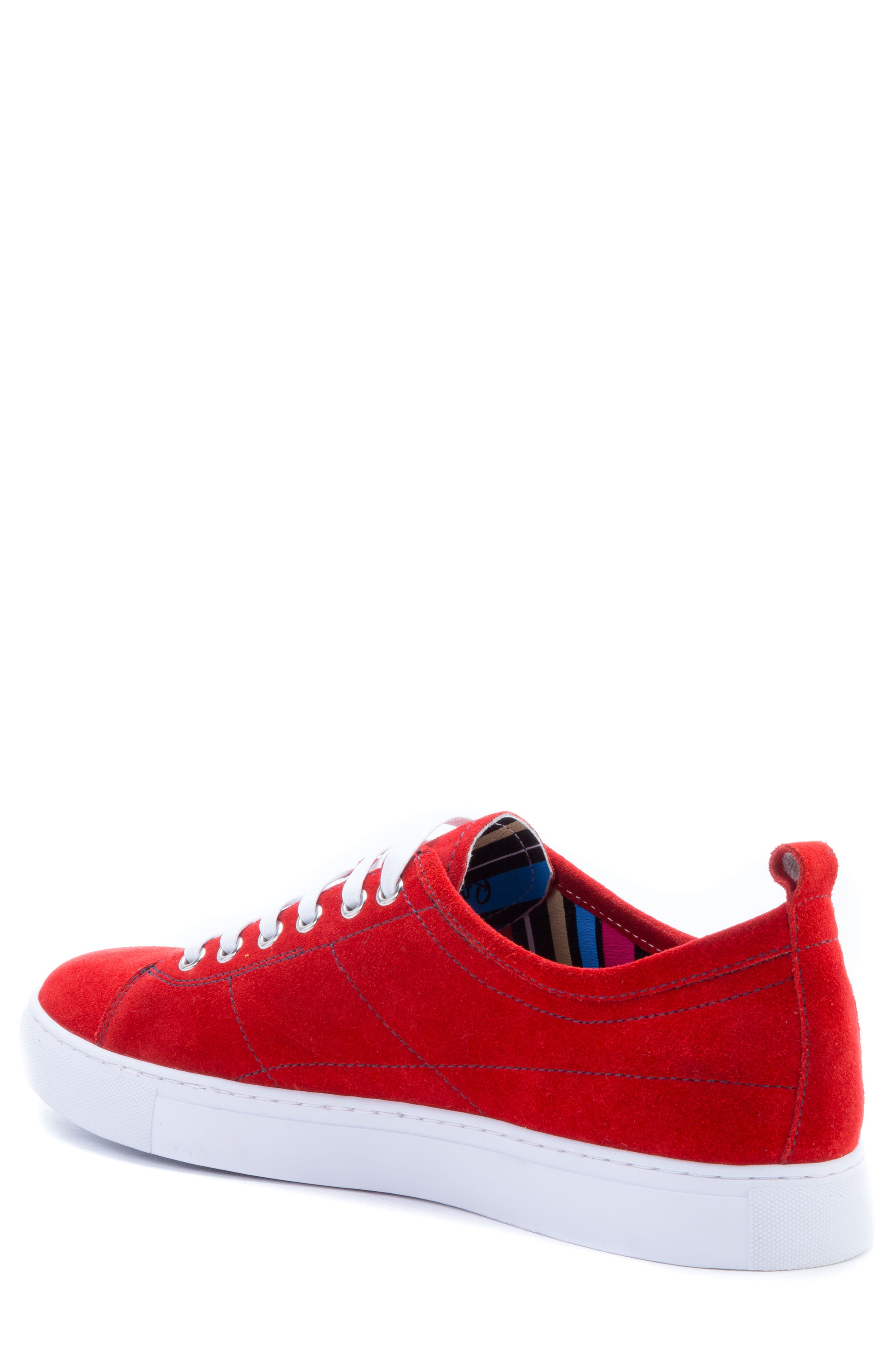 Ernesto Low Top Sneaker,                             Alternate thumbnail 2, color,                             Red Suede