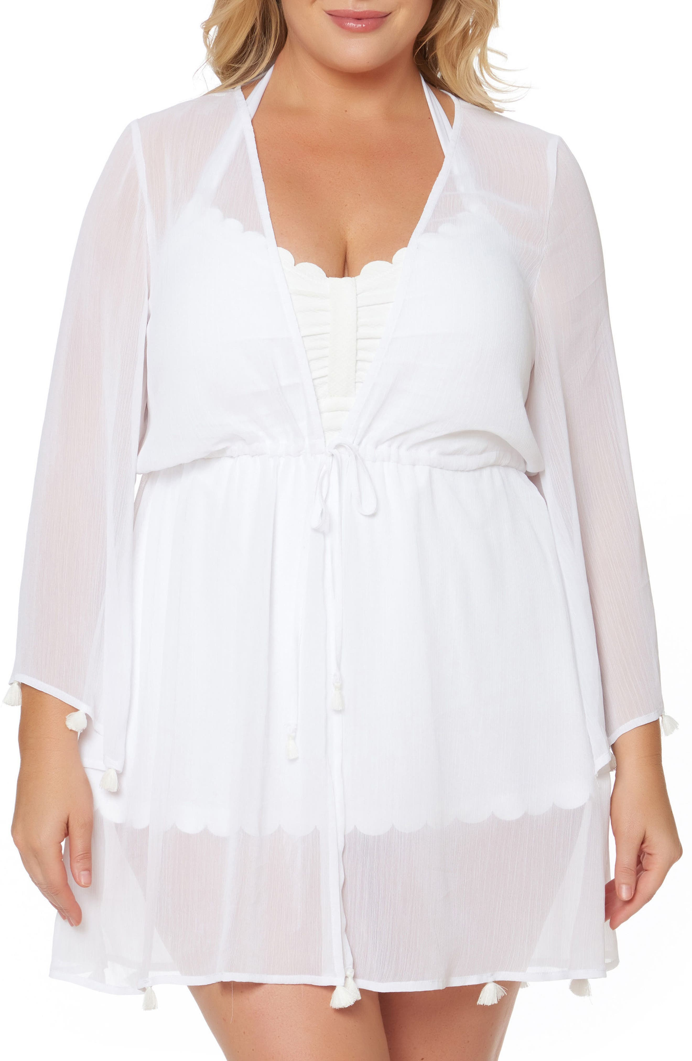 Chiffon Cover-Up Kimono,                             Main thumbnail 1, color,                             White