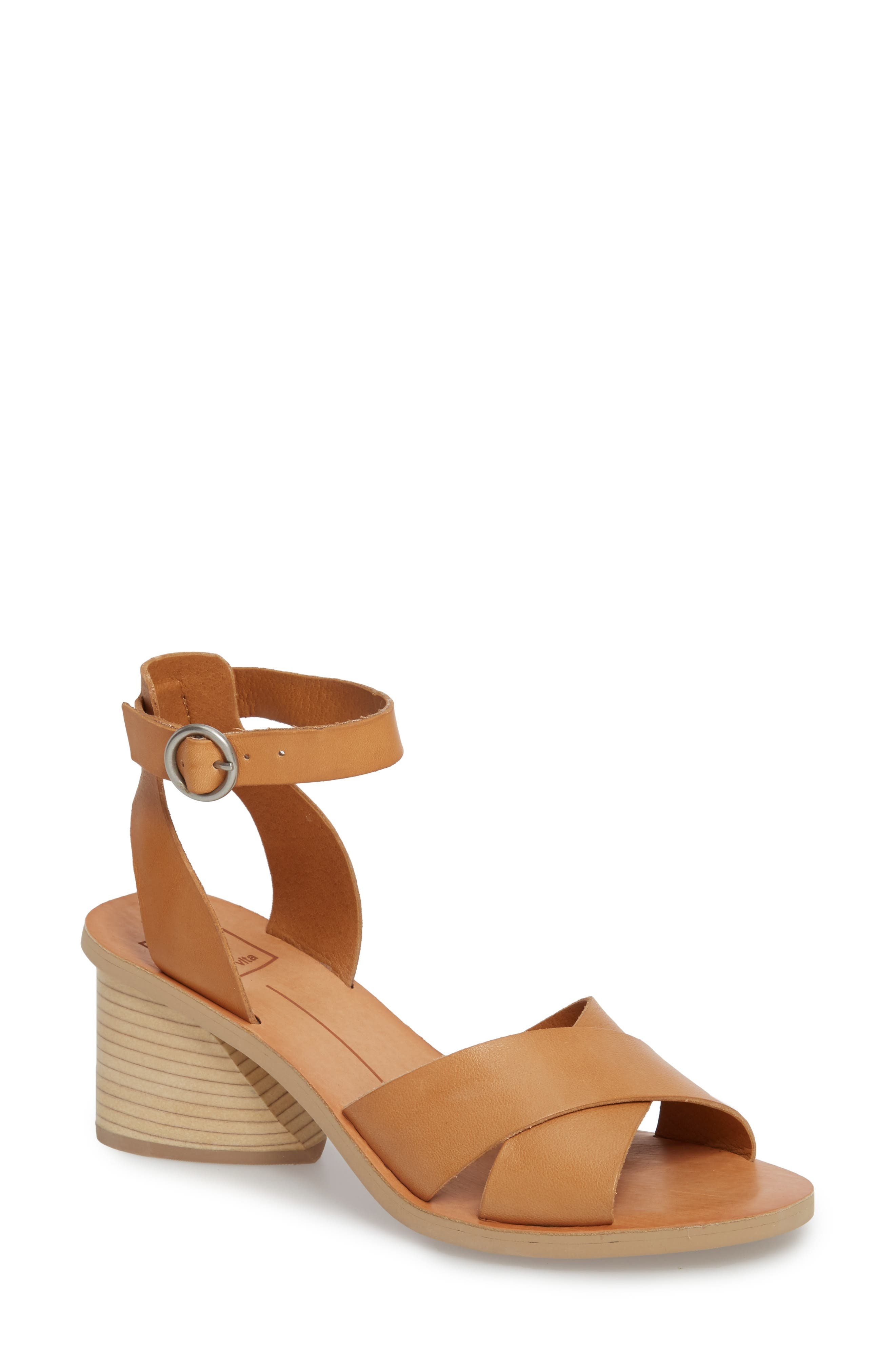 Roman Flared Heel Sandal,                             Main thumbnail 1, color,                             Caramel Leather
