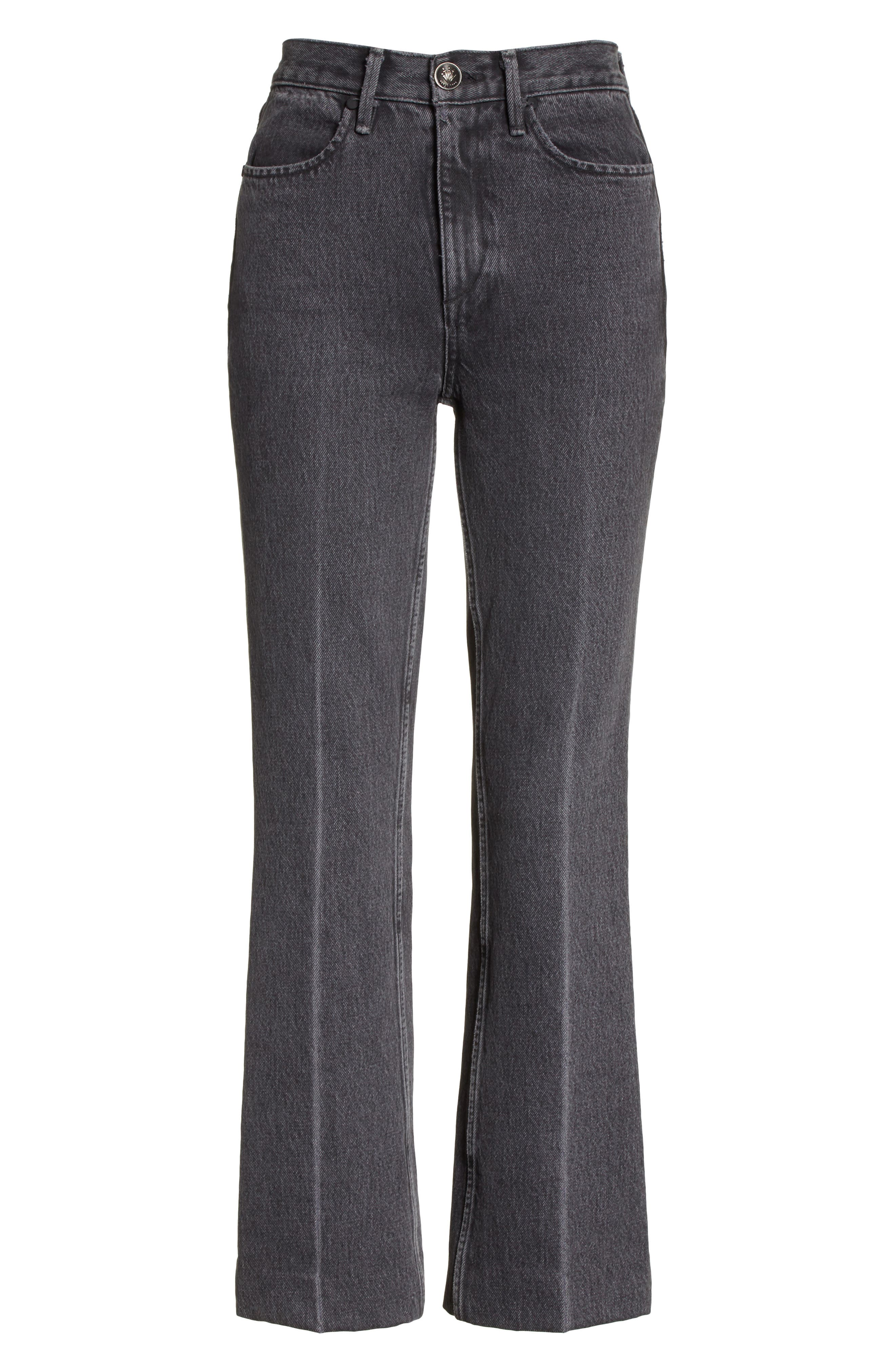 Dylan High Waist Crop Kick Flare Jeans,                             Alternate thumbnail 6, color,                             Grey Kuro