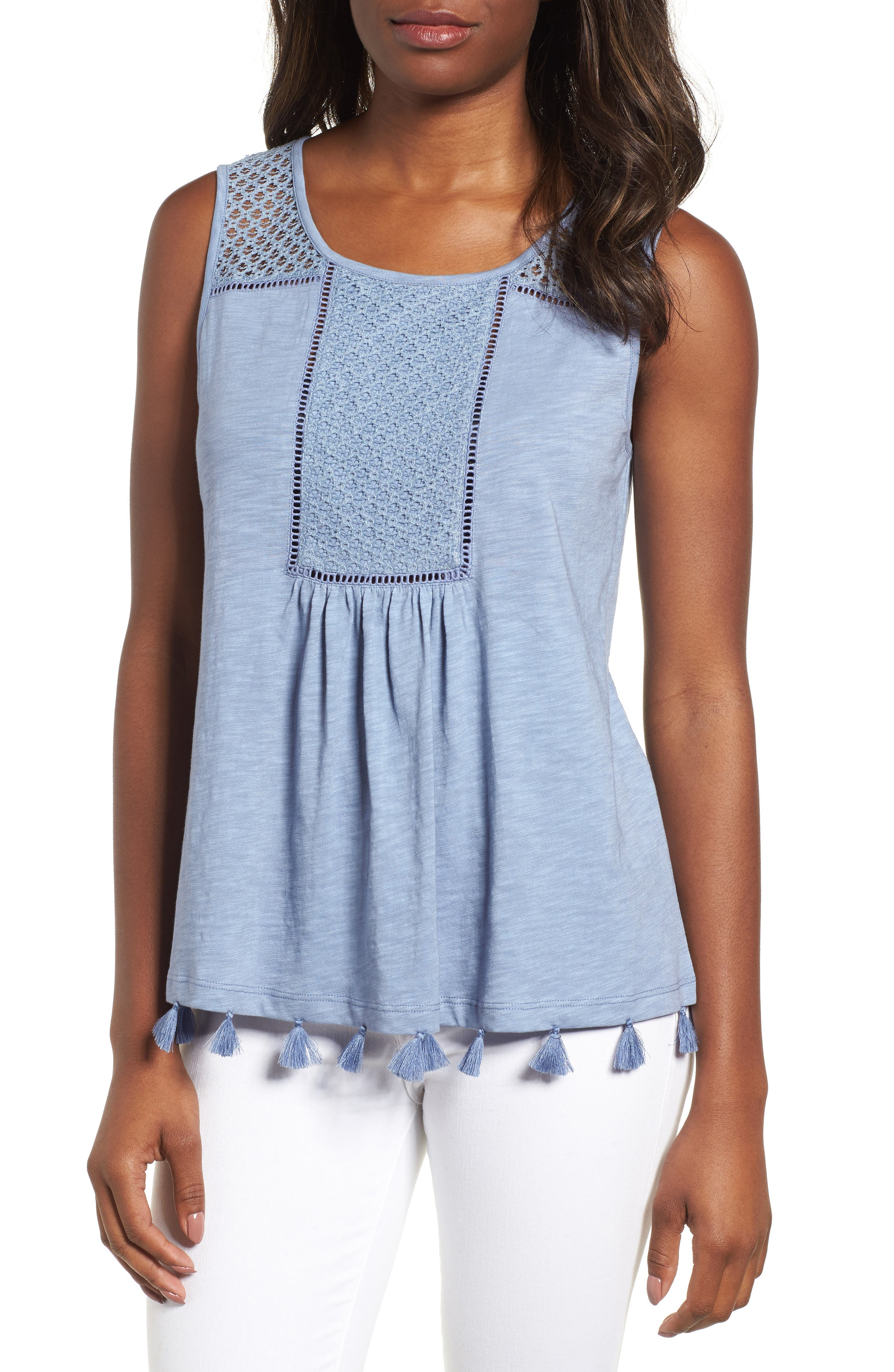 Tassel Trim Embroidered Tank,                             Main thumbnail 1, color,                             Blue Stonewash