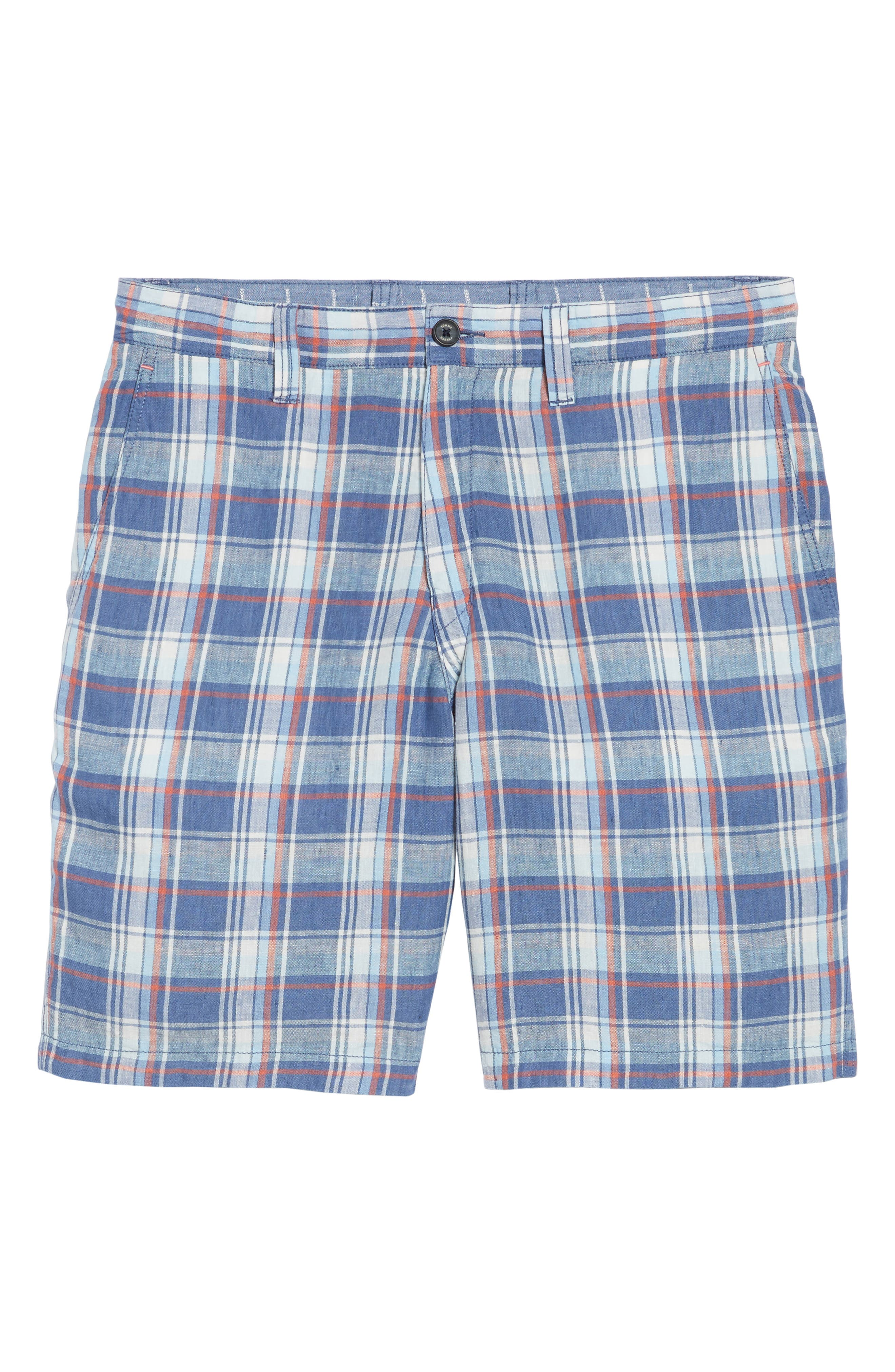 Plaid de Leon Reversible Linen Shorts,                             Alternate thumbnail 6, color,                             Dockside Blue