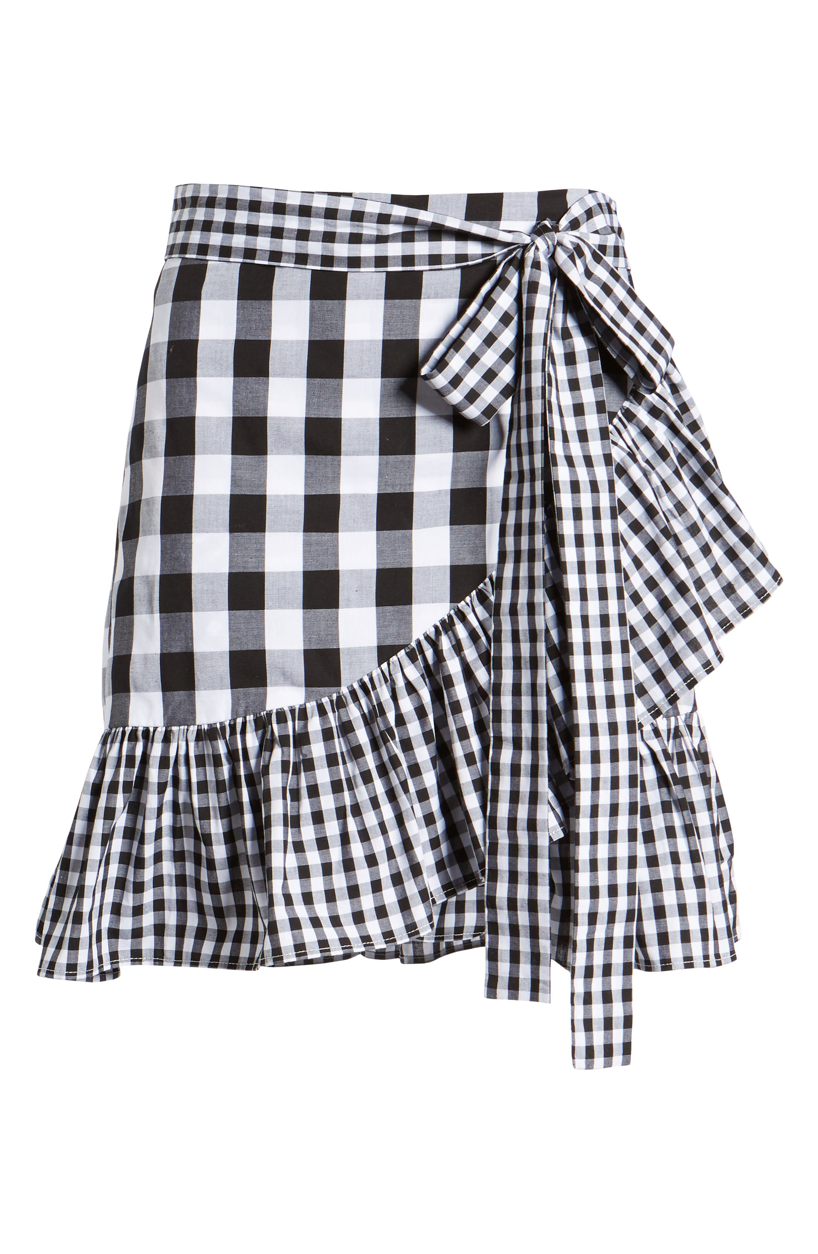 Mixed Check Ruffle Trim Skirt,                             Alternate thumbnail 6, color,                             Black Lexi Gingham