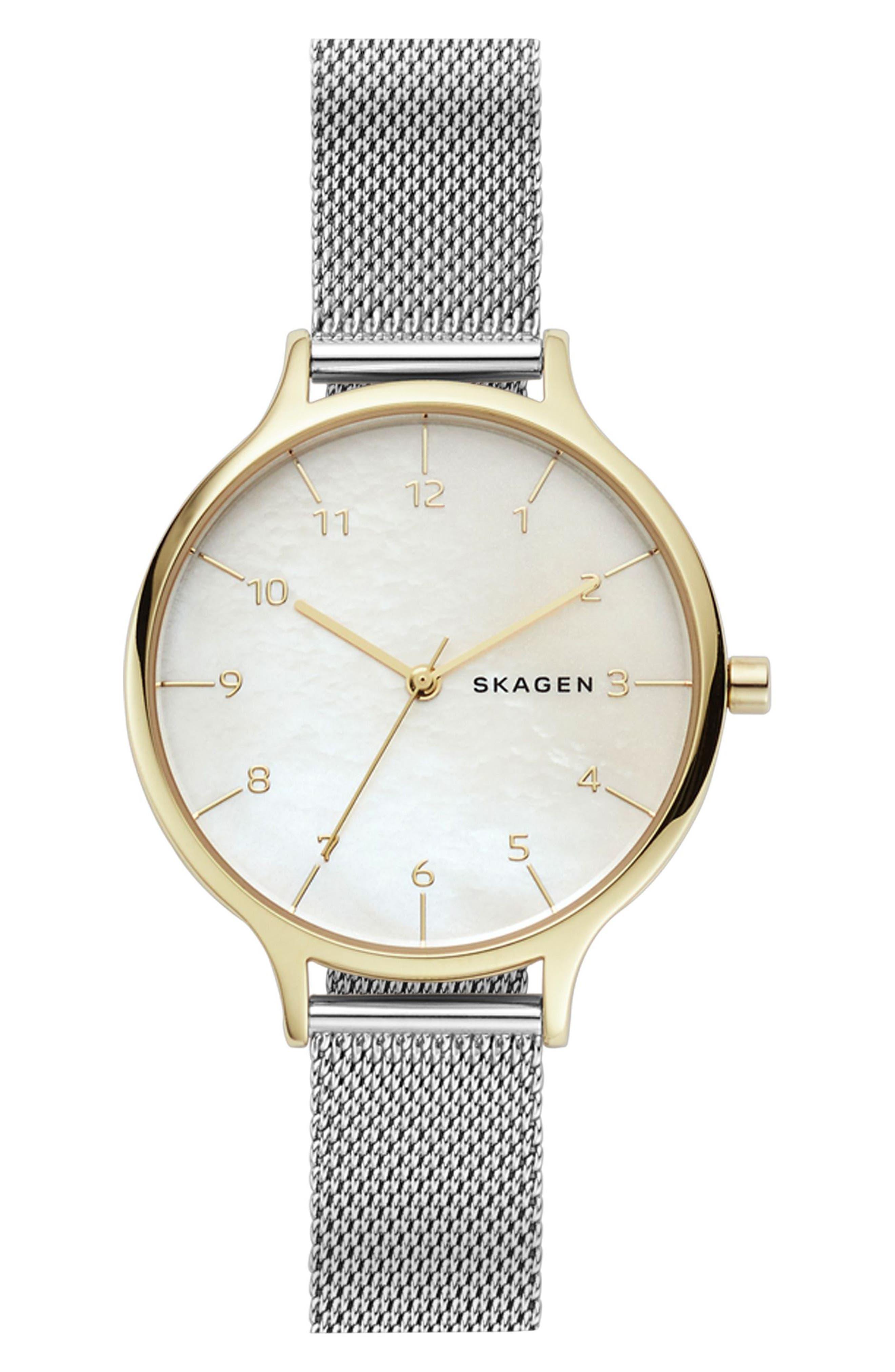 Anita Mesh Strap Watch, 36mm,                         Main,                         color, Silver/ Mop/ Gold