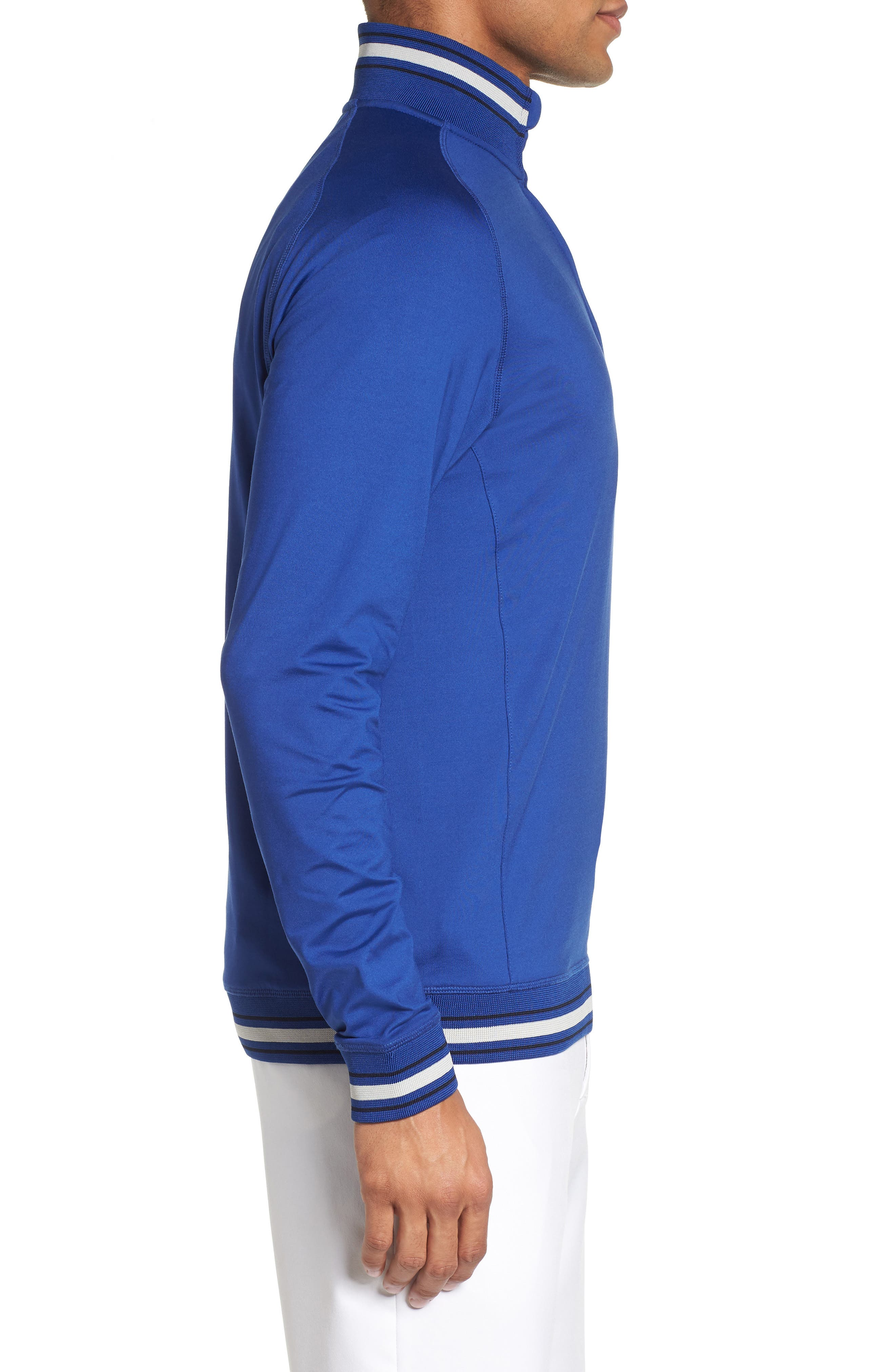 Trim Fit Quarter Zip Golf Pullover,                             Alternate thumbnail 3, color,                             Bright Blue