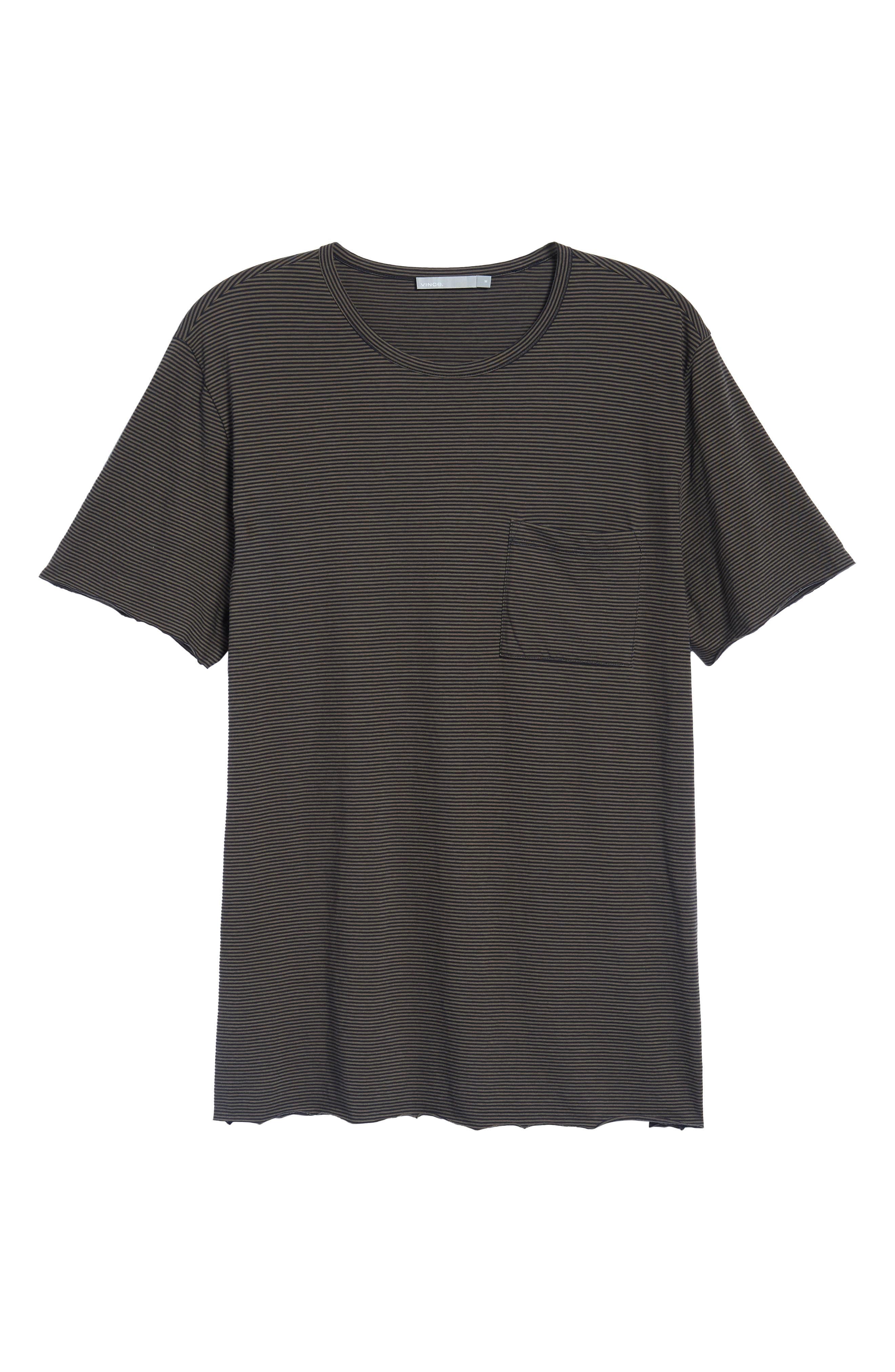 Slim Fit Stripe Pocket T-Shirt,                             Alternate thumbnail 6, color,                             Black/ Camp Green