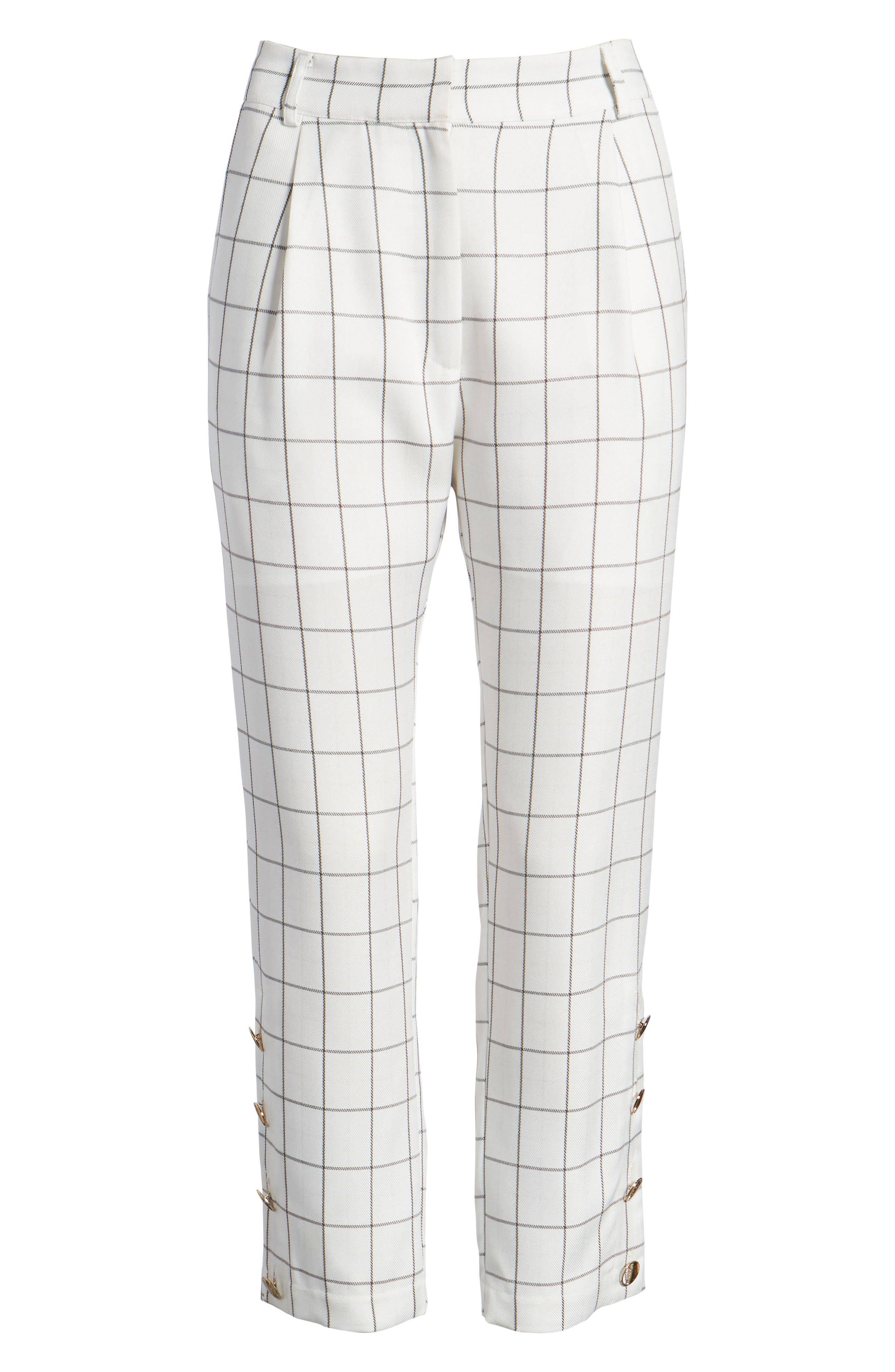 Chriselle x J.O.A. High Waist Ankle Skinny Trousers,                             Alternate thumbnail 10, color,                             White
