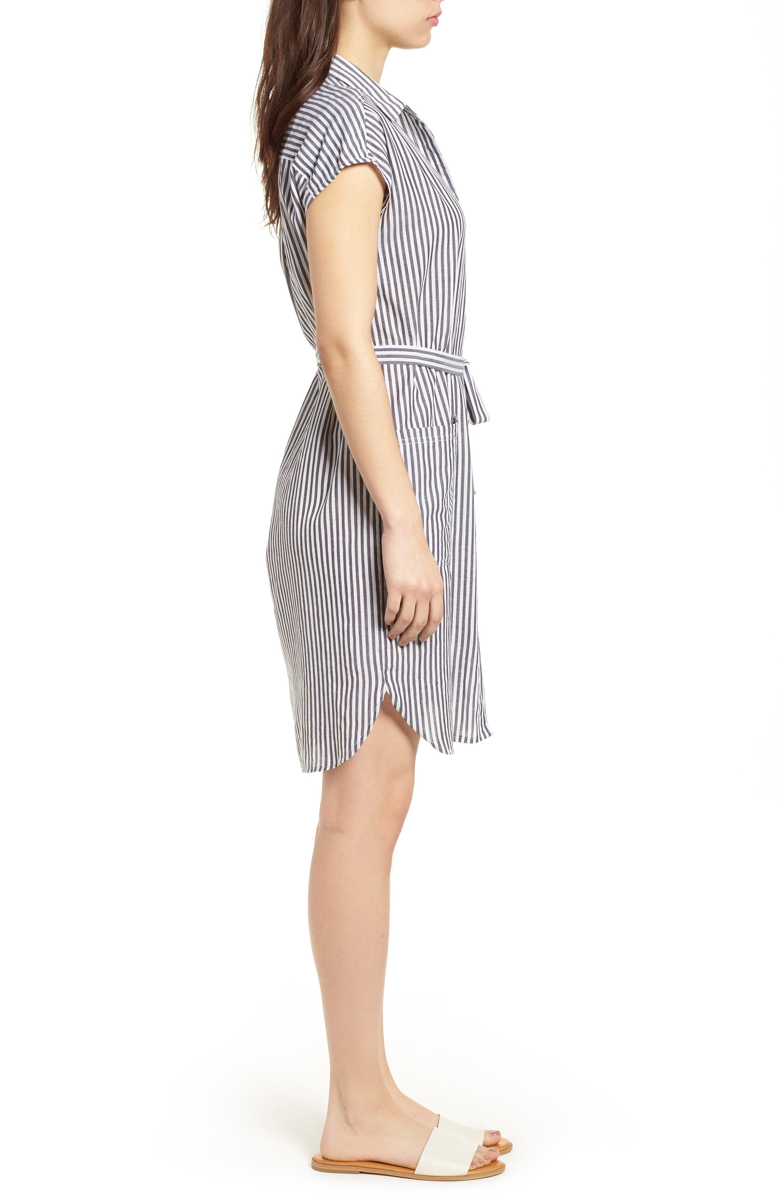 Stripe Belted Cotton Shirtdress,                             Alternate thumbnail 3, color,                             Charcoal Grey