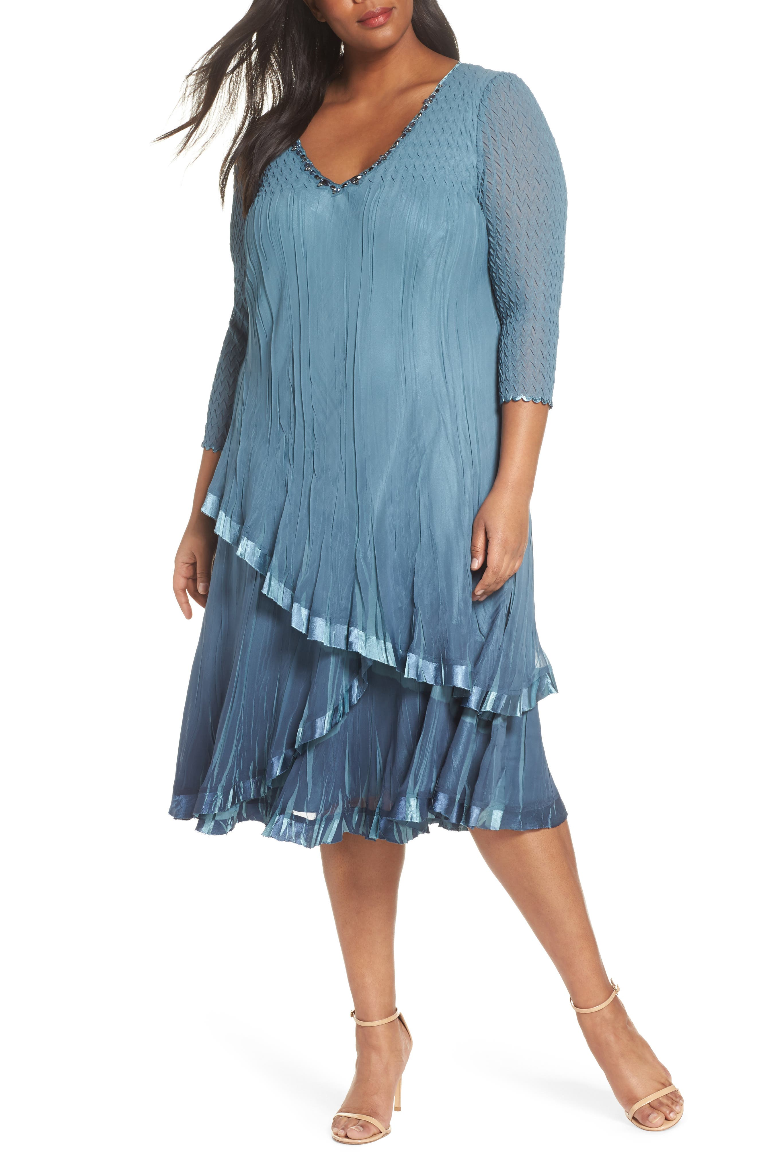 Bead Trim Tiered Chiffon Dress,                             Main thumbnail 1, color,                             Silver Blue Night Ombre