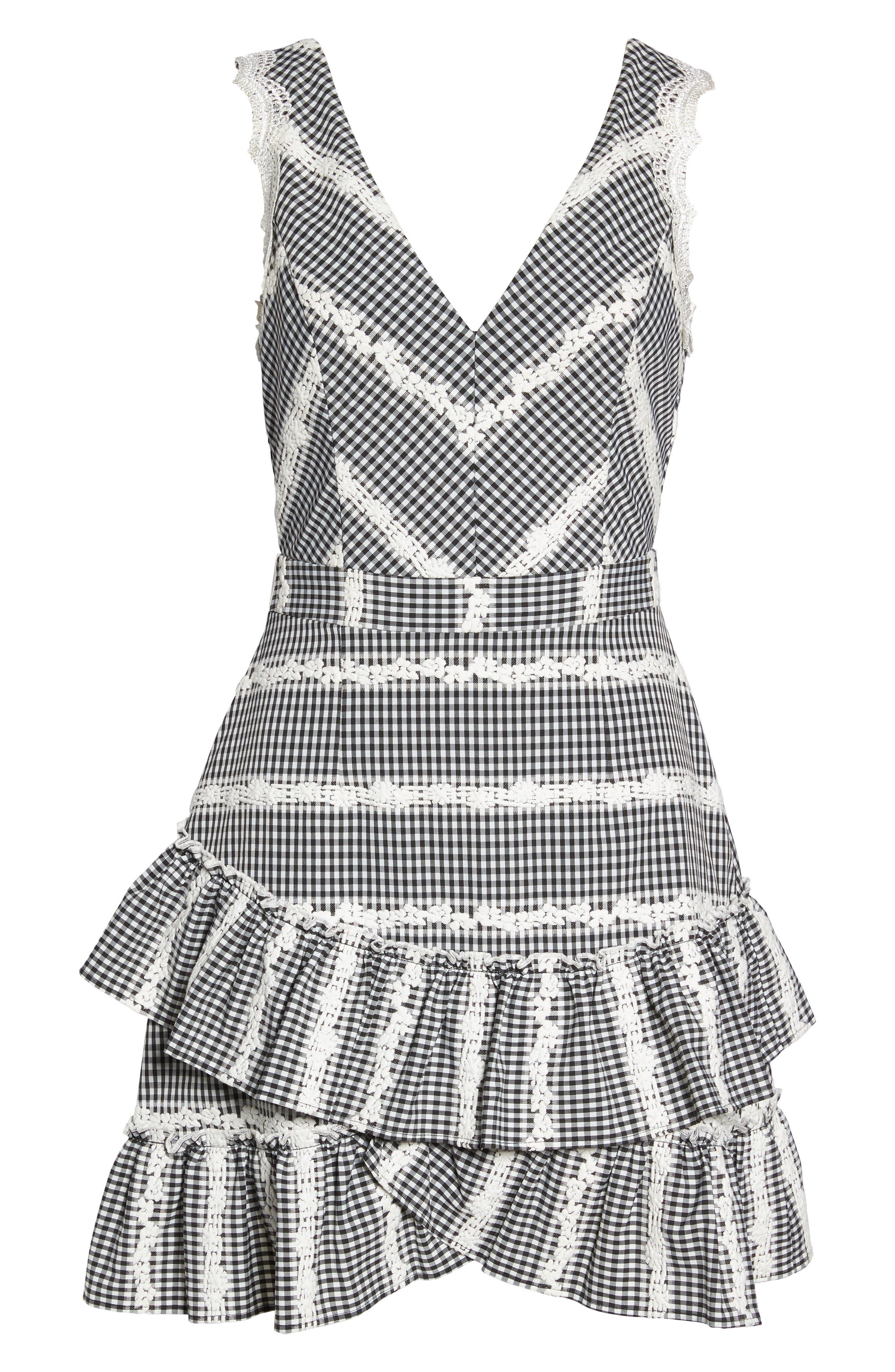 Belle Ruffle Gingham Dress,                             Alternate thumbnail 6, color,                             Black/ White