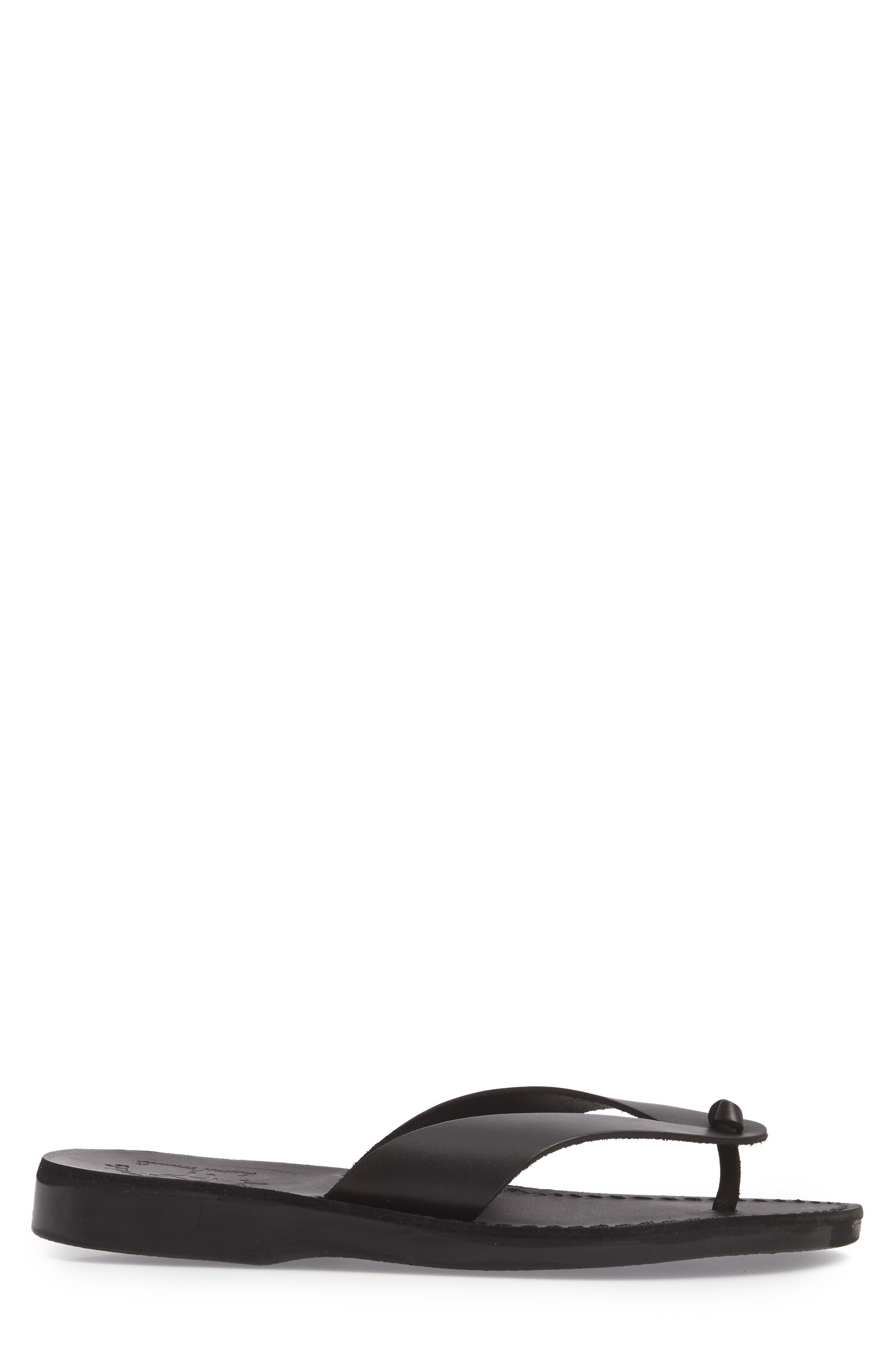 Solomon Flip Flop,                             Alternate thumbnail 3, color,                             Black Leather