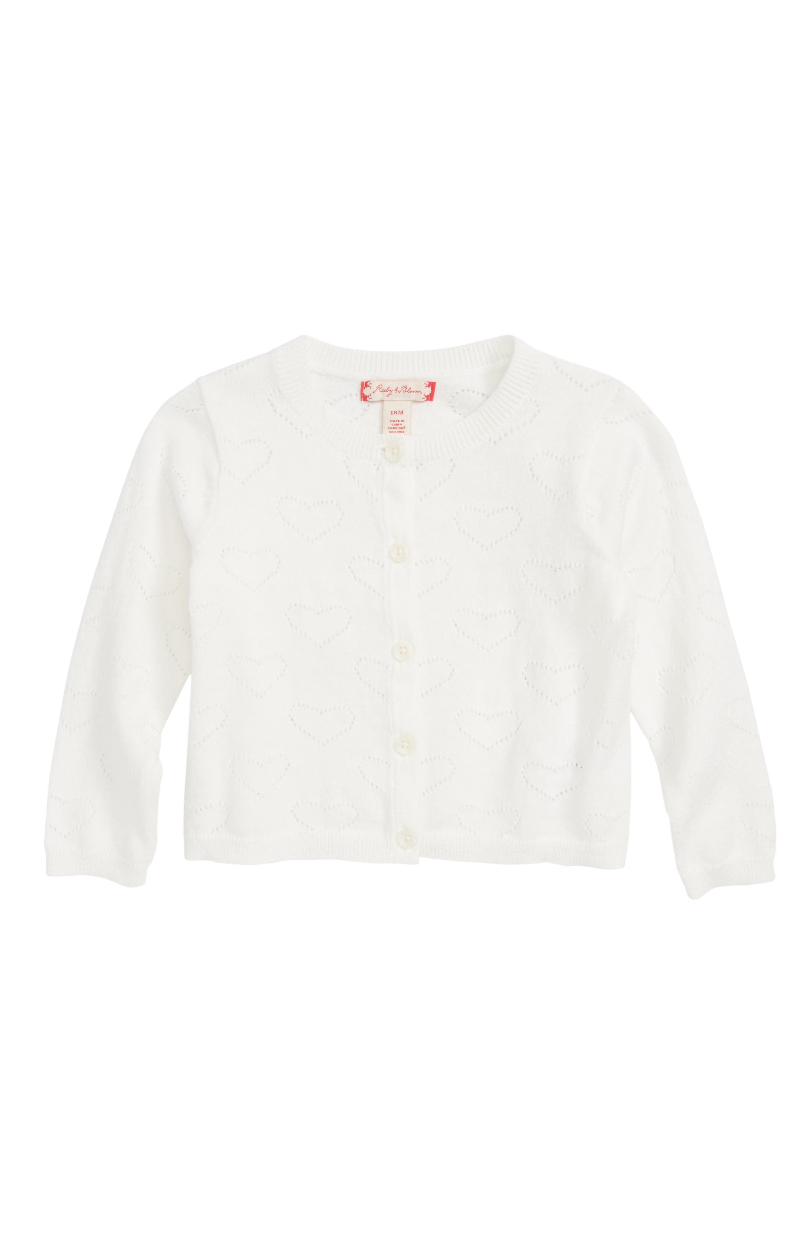 Ruby & Bloom Pointelle Cardigan (Baby Girls)