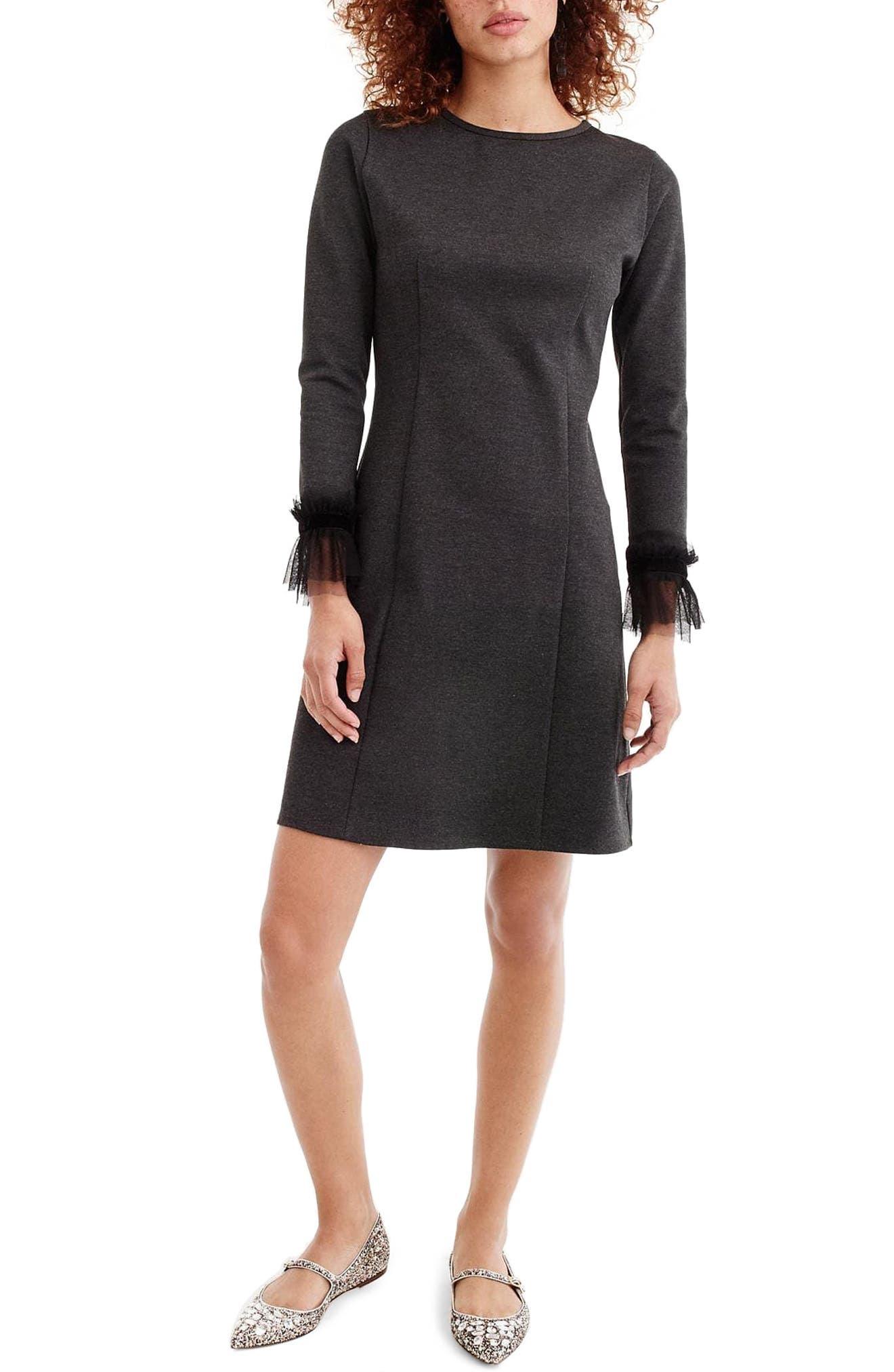 Tulle Trim Long Sleeve Sheath Dress,                             Main thumbnail 1, color,                             Heather Grey