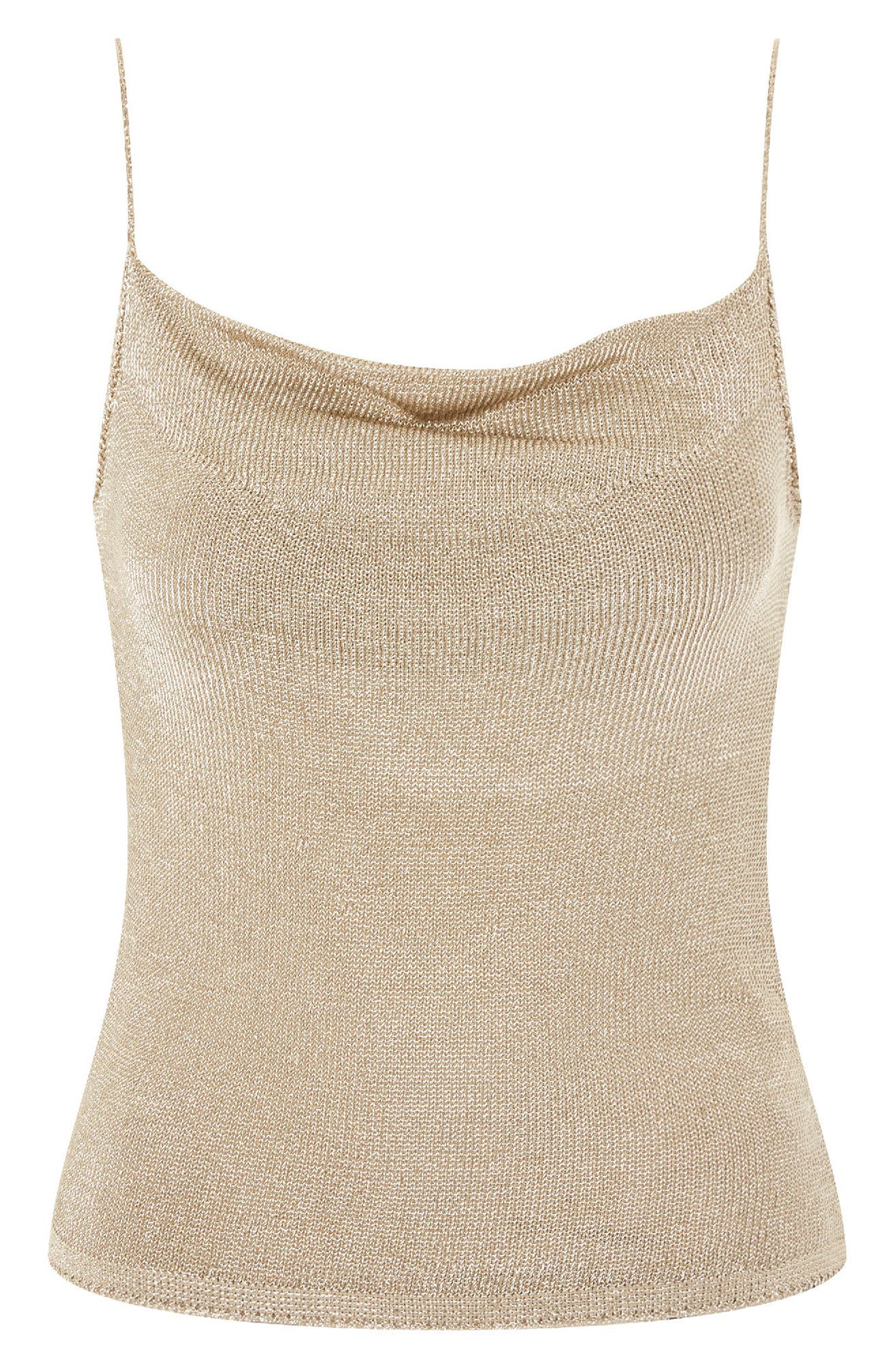 Metal Yarn Cowl Camisole,                             Alternate thumbnail 5, color,                             Gold
