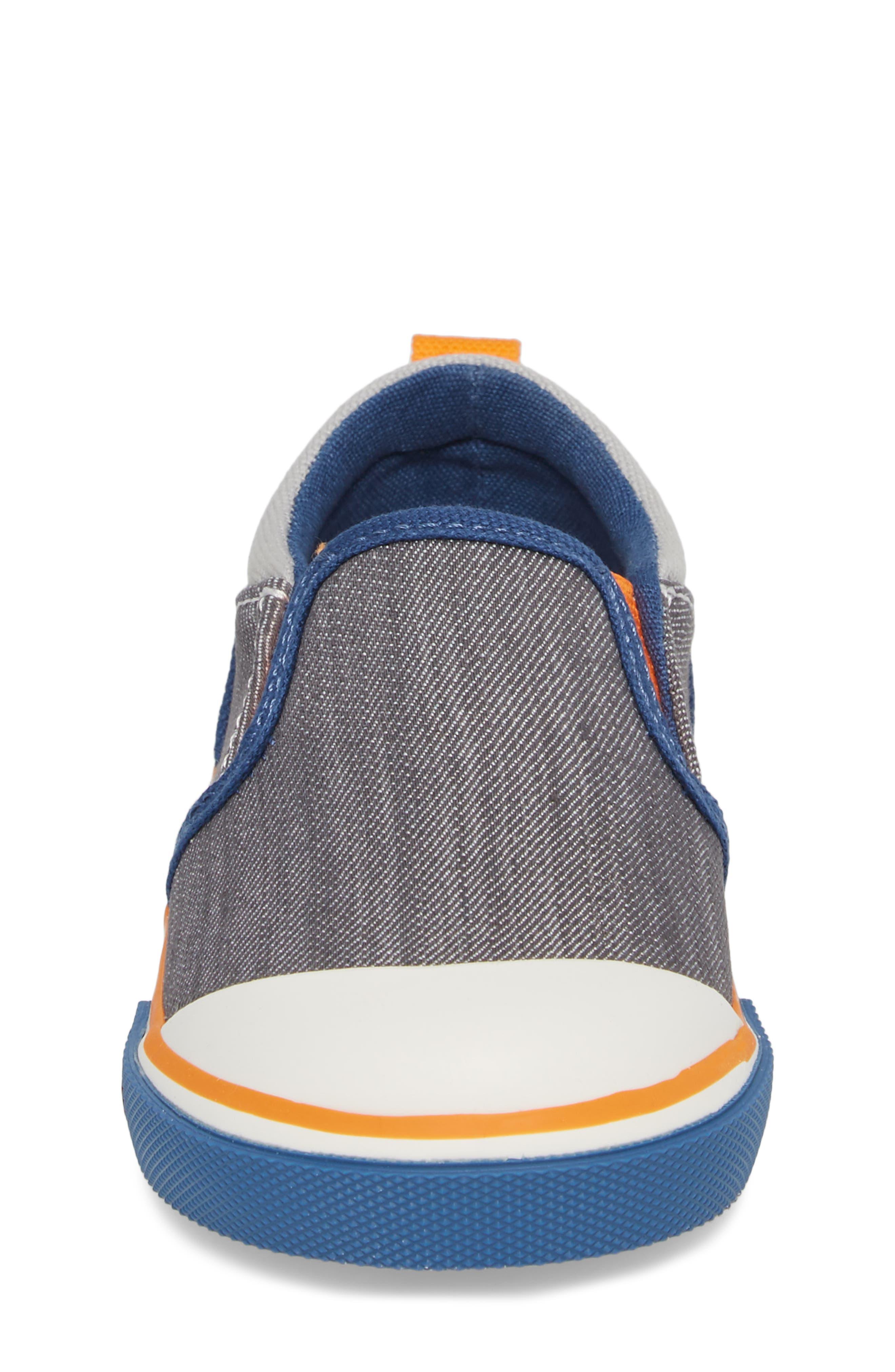 Slater Colorblock Slip-On Sneaker,                             Alternate thumbnail 4, color,                             Gray/ Blue