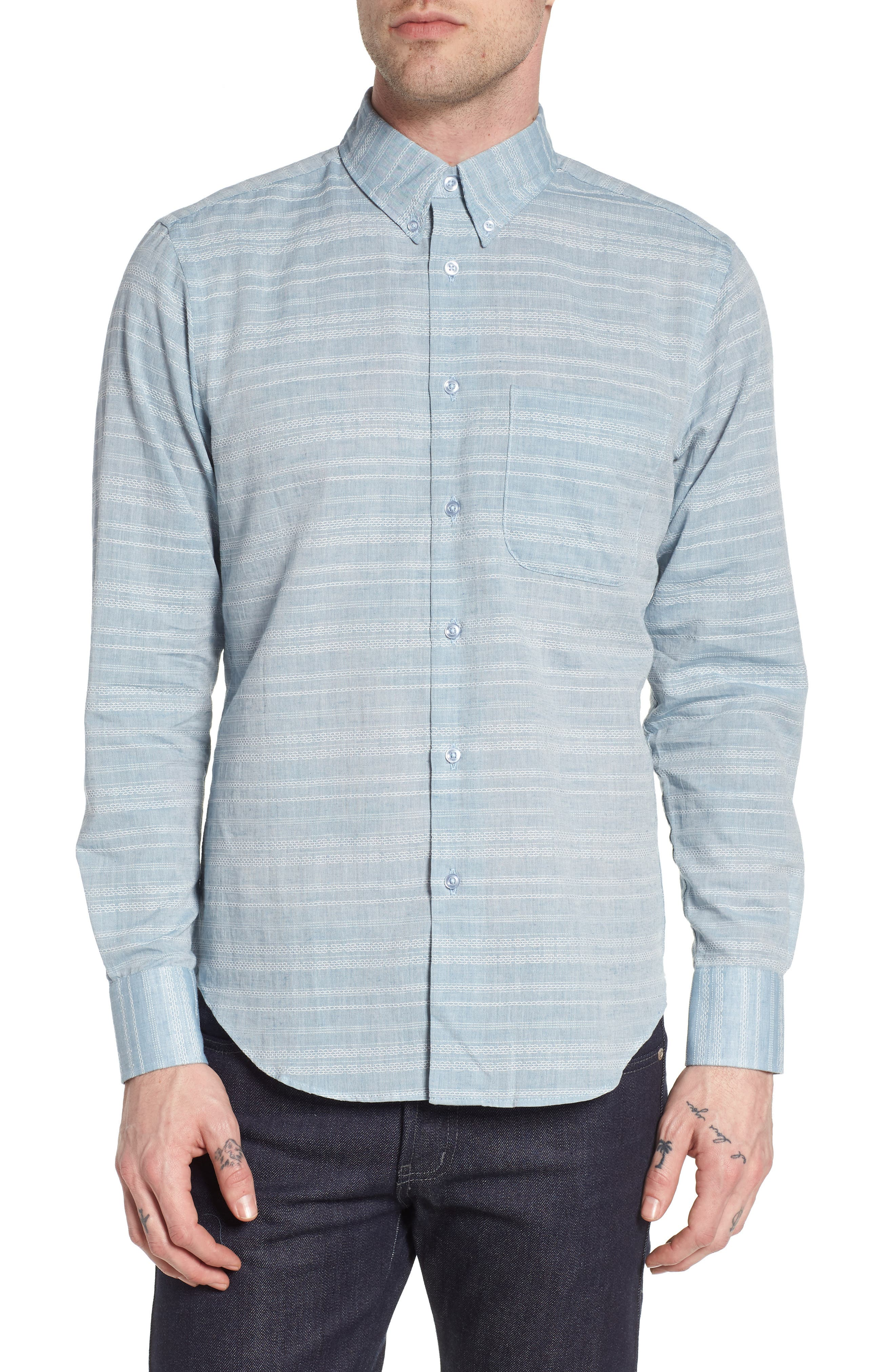 Naked & Famous Beehive Dobby Shirt,                         Main,                         color, Blue