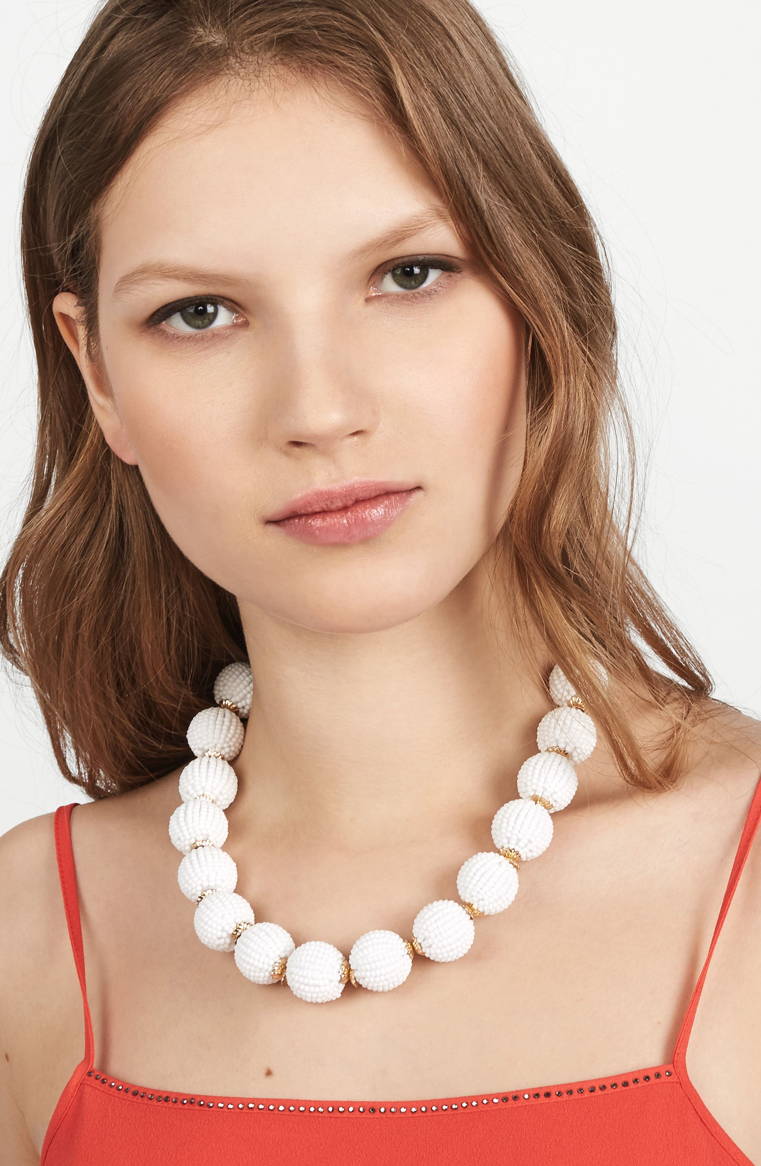 Beaded Ball Statement Necklace,                             Alternate thumbnail 3, color,                             White