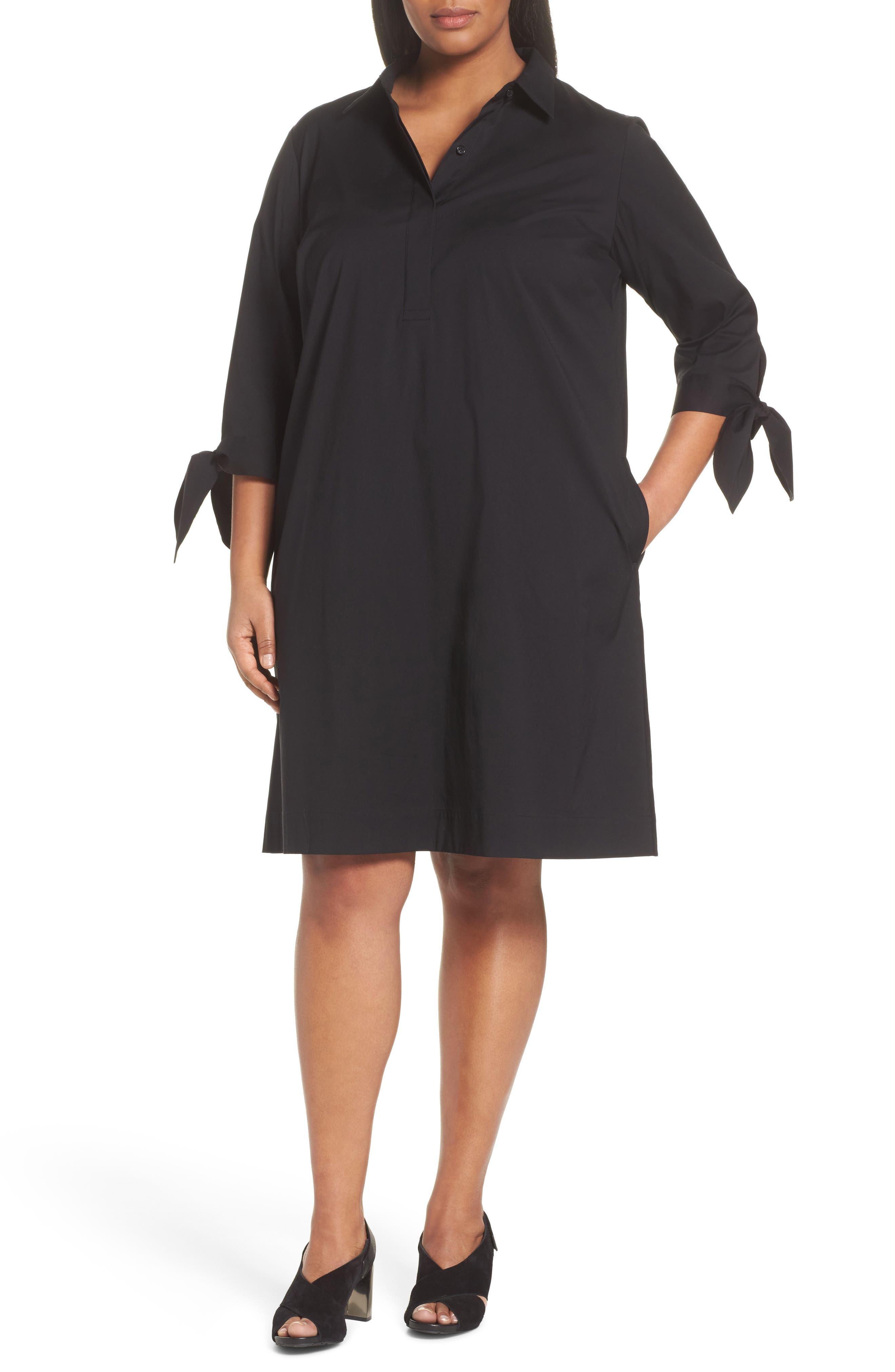 Lafayette 148 Talia Shirtdress,                             Main thumbnail 1, color,                             Black