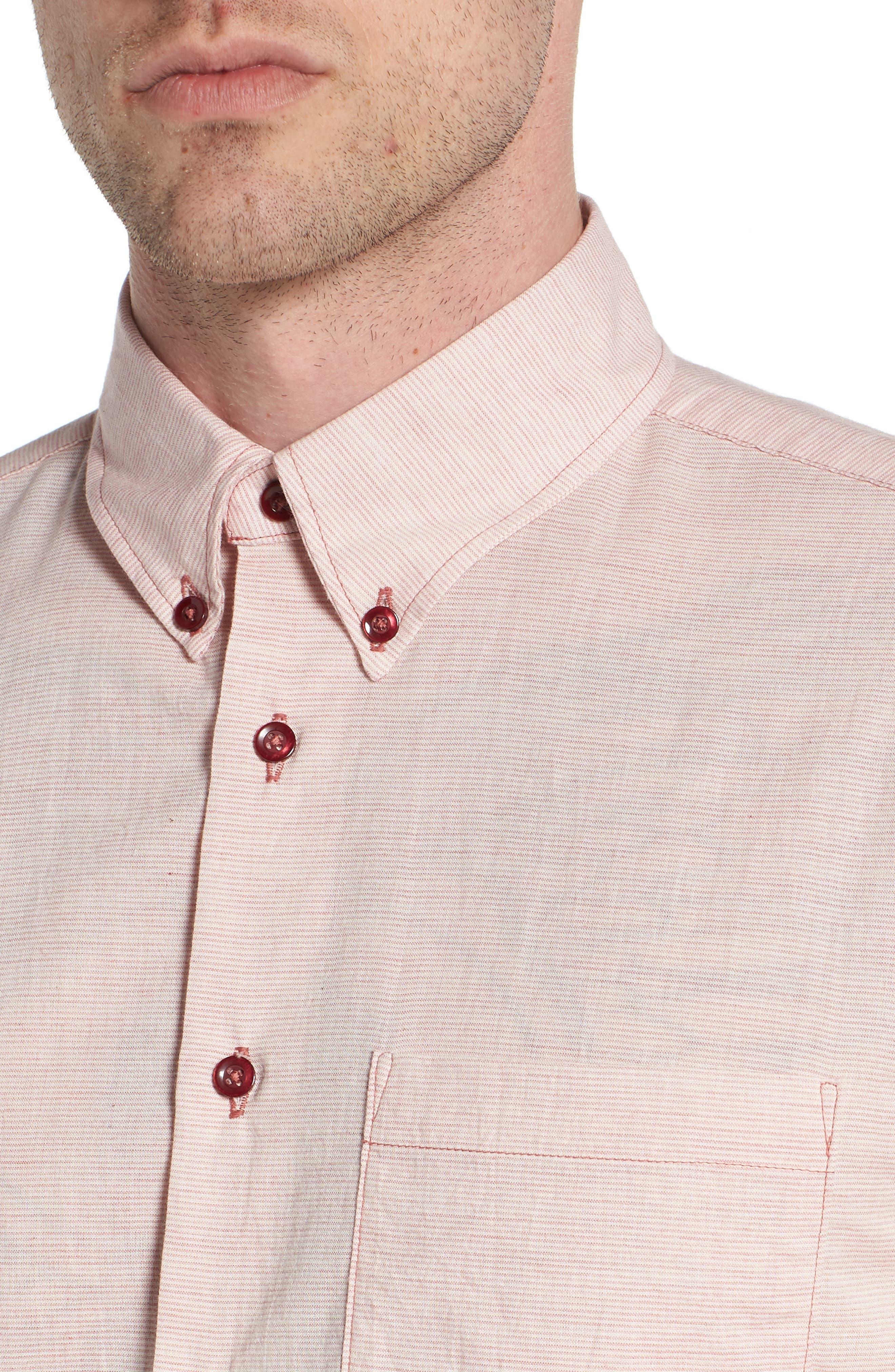 Naked & Famous Summer Gauze Mini Stripe Shirt,                             Alternate thumbnail 4, color,                             Red